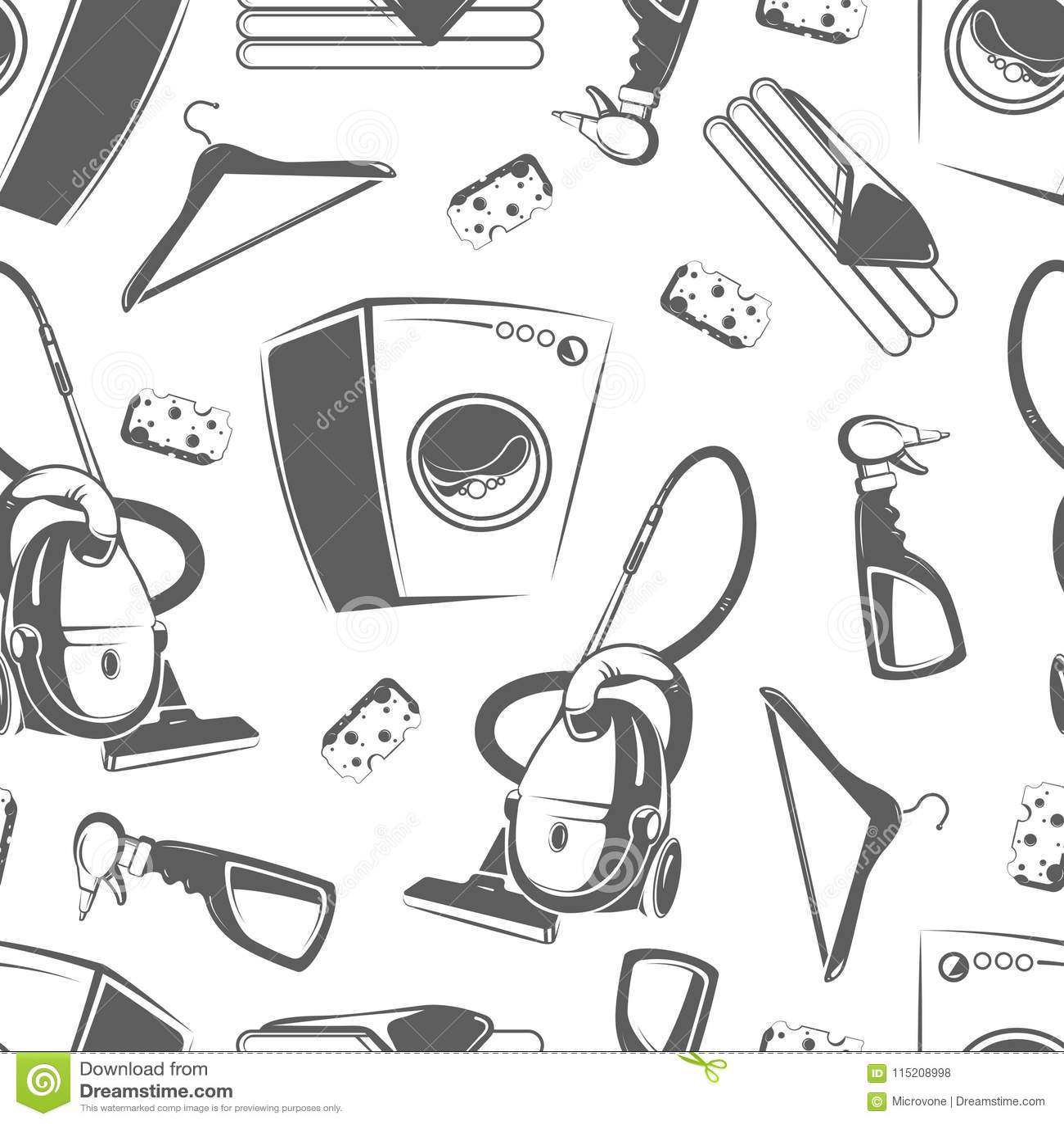 Hand Drawn Laundry Symbol Set Cartoon Vector