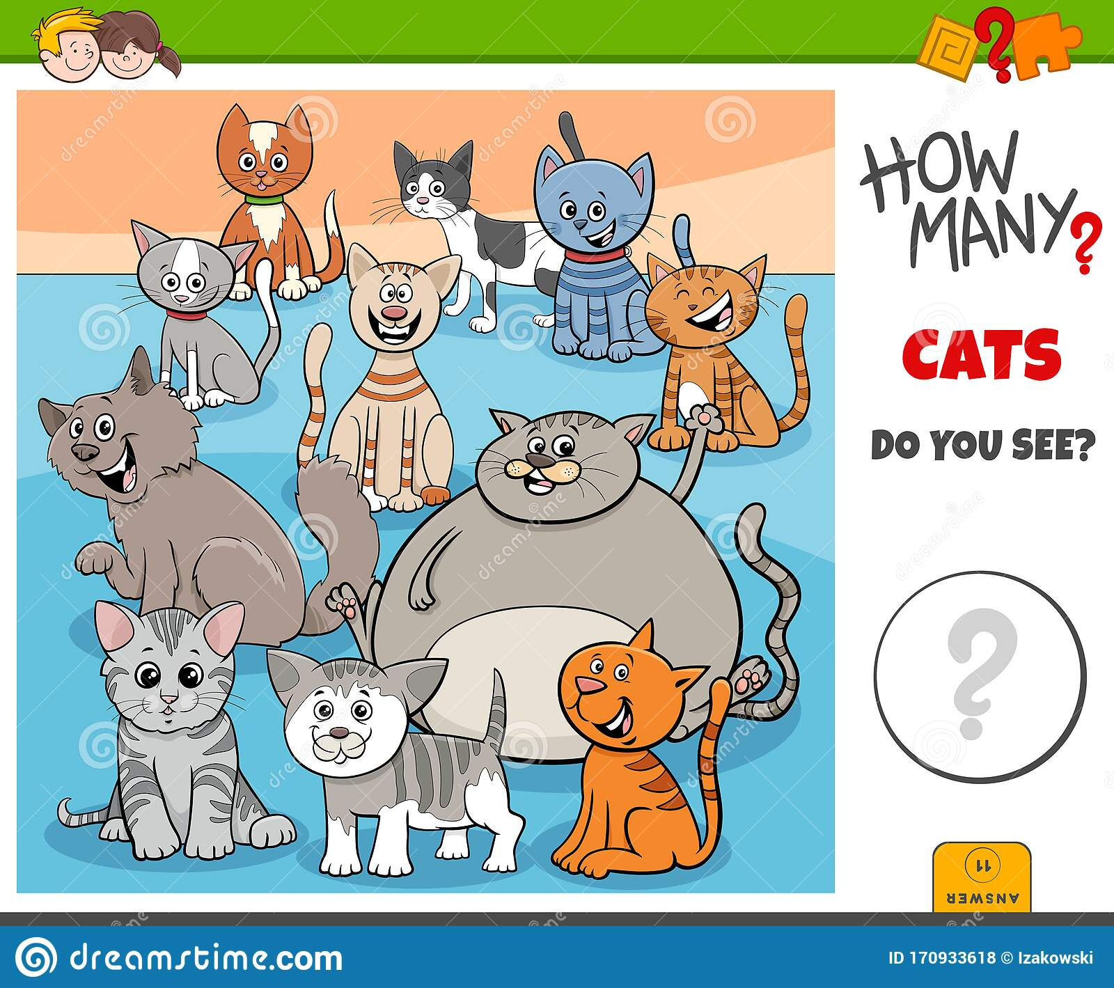 How Many Cats Educational Task For Kids Stock Vector