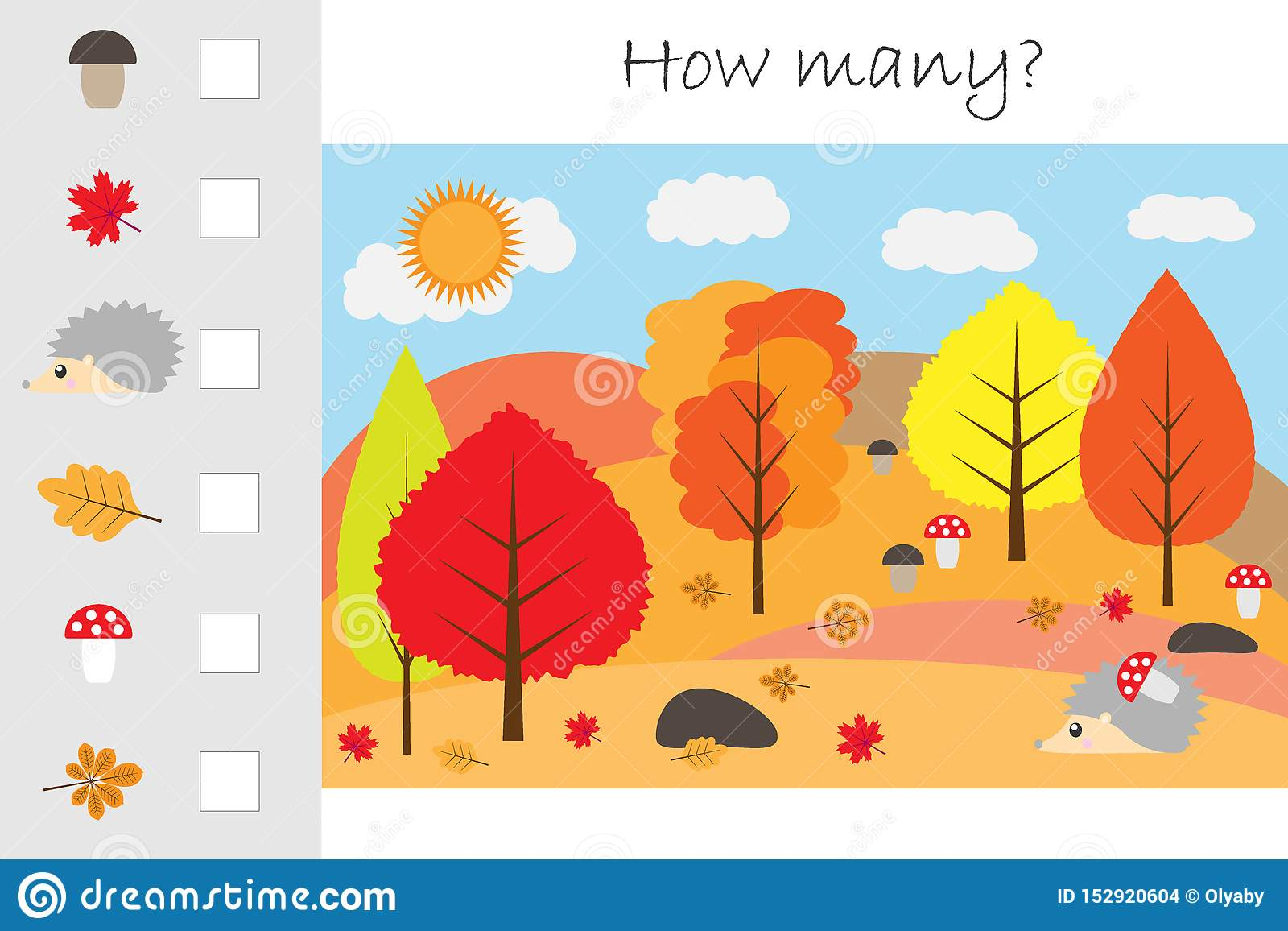 How Many Counting Game Autumn Forest For Kids