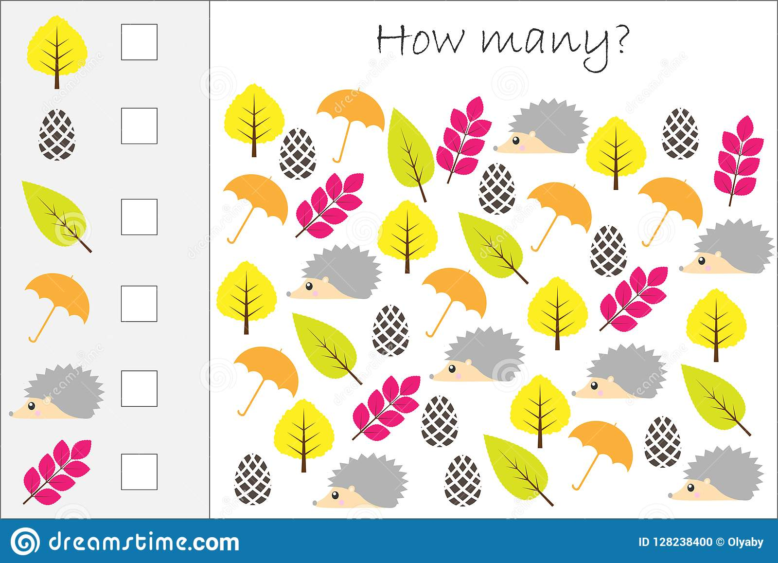 How Many Counting Game With Autumn Pictures For Kids