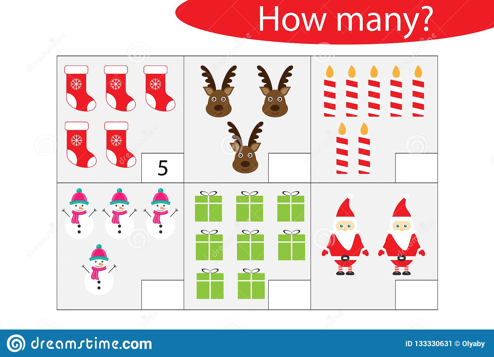 How Many Counting Game With Christmas Pictures For Kids