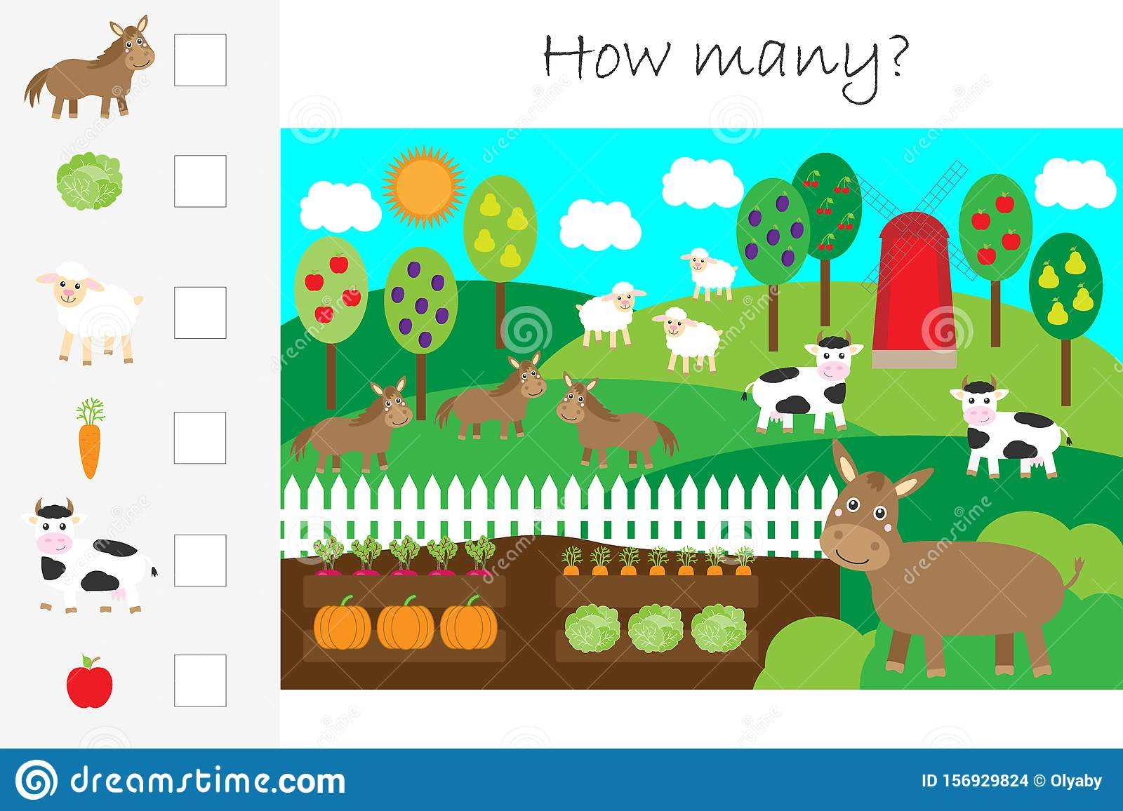 How Many Counting Game Farm Animals And Garden For Kids