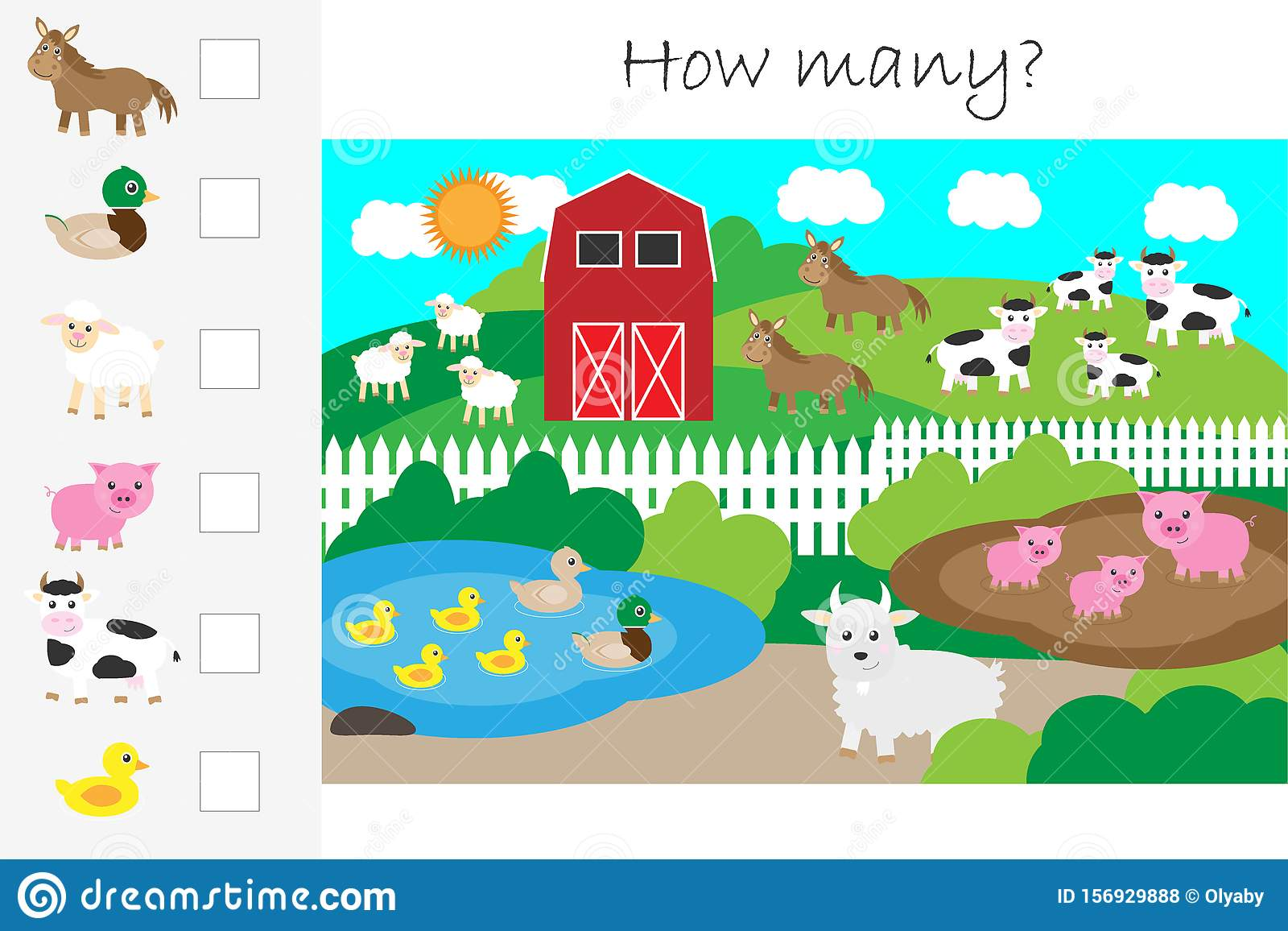 How Many Counting Game Farm With Animals For Kids