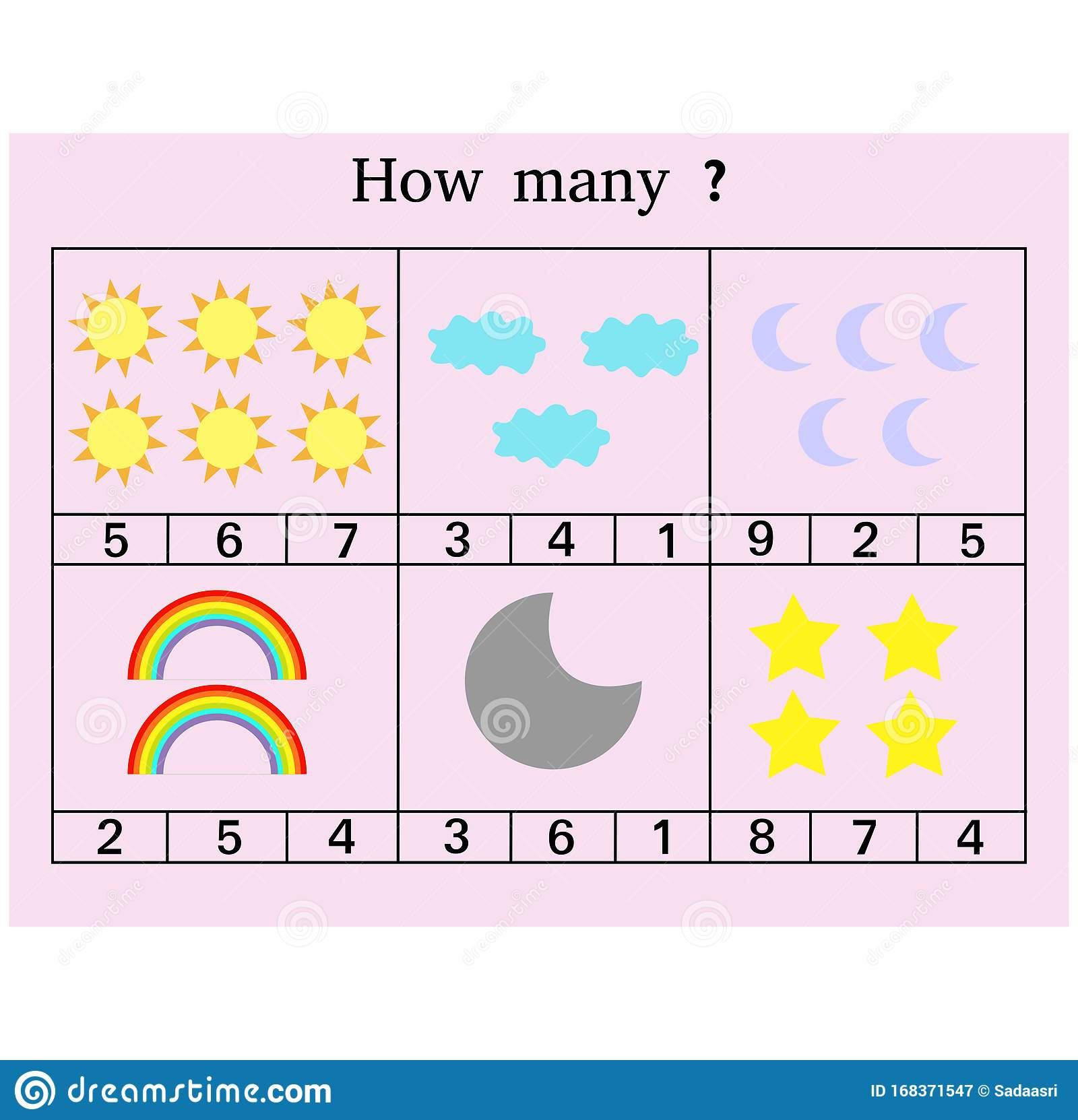 How Many Counting Game Illustration With Sky Pictures
