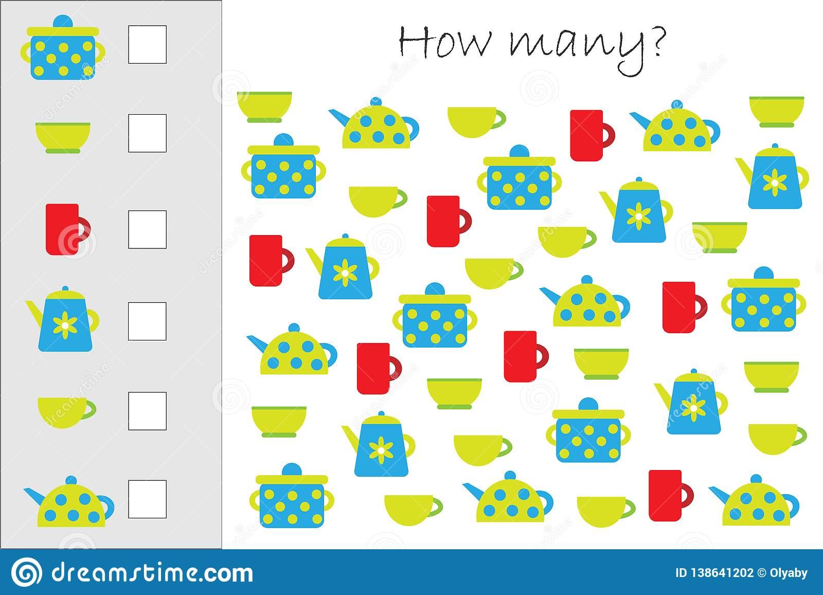 How Many Counting Game With Kitchen Pictures For Kids