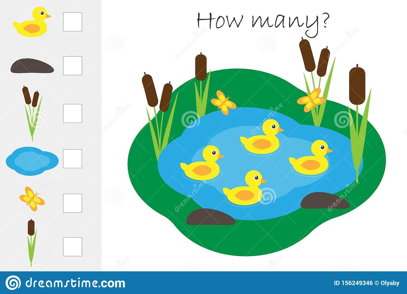 How Many Counting Game Pond With Ducks For Kids