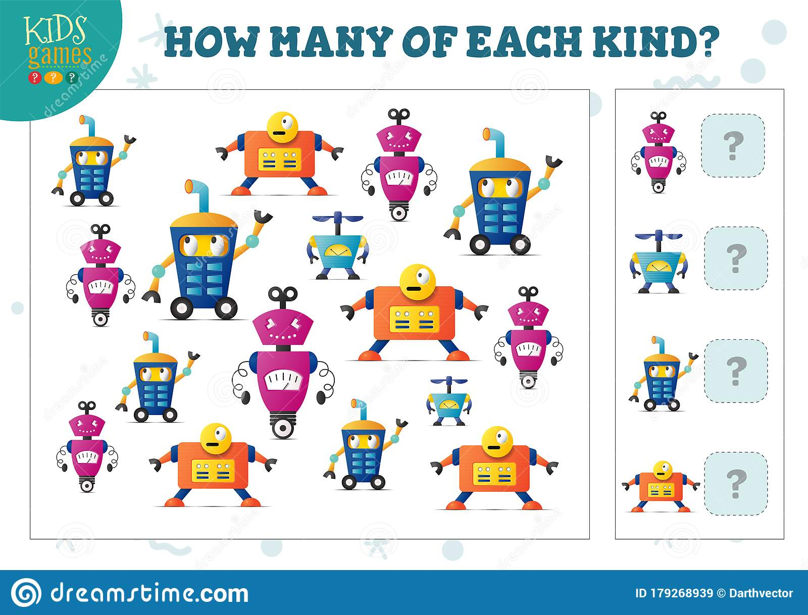 How Many Of Each Kind Cartoon Robot Counting Game For Kids