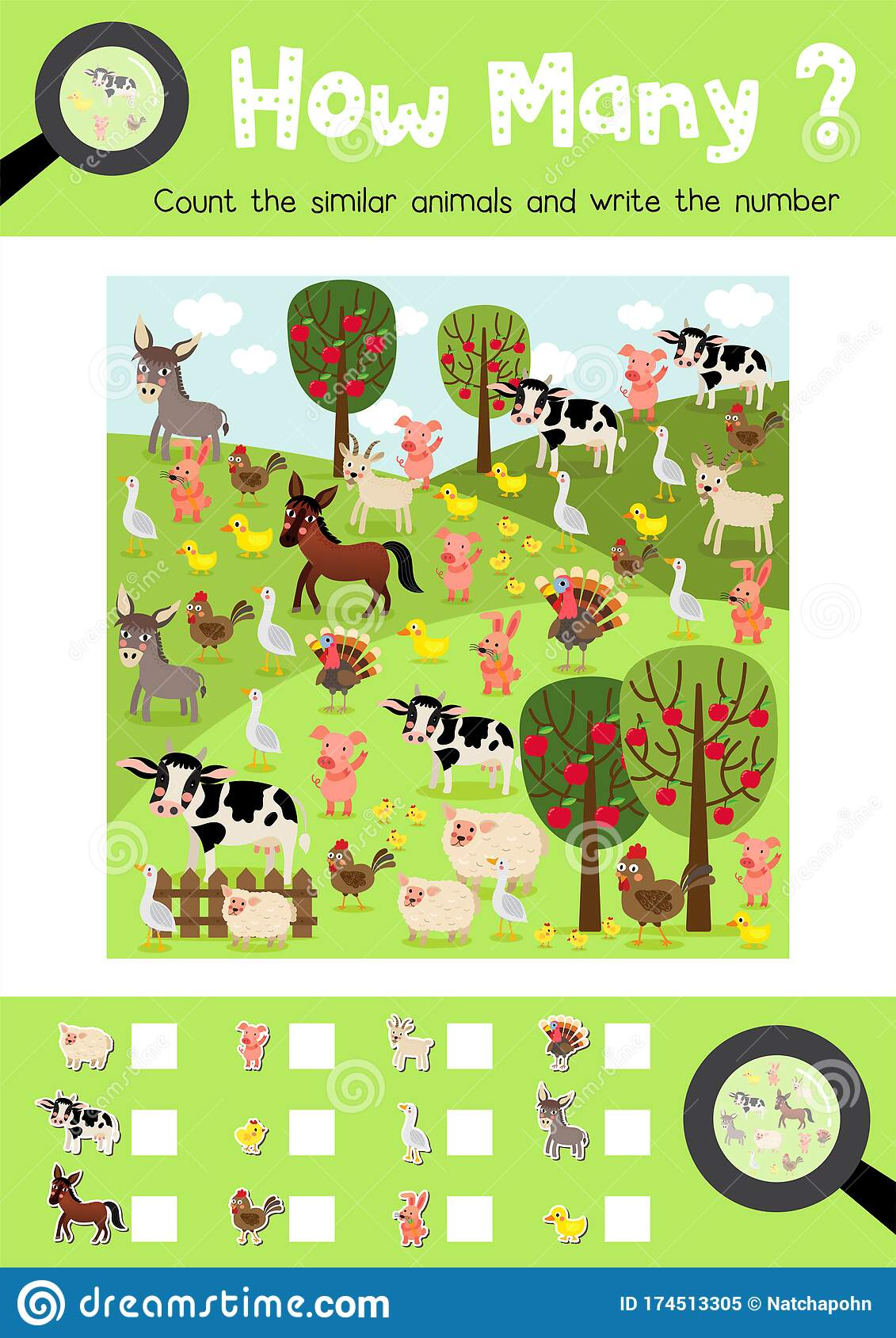 How Many Game Farm Animal Stock Vector Illustration Of