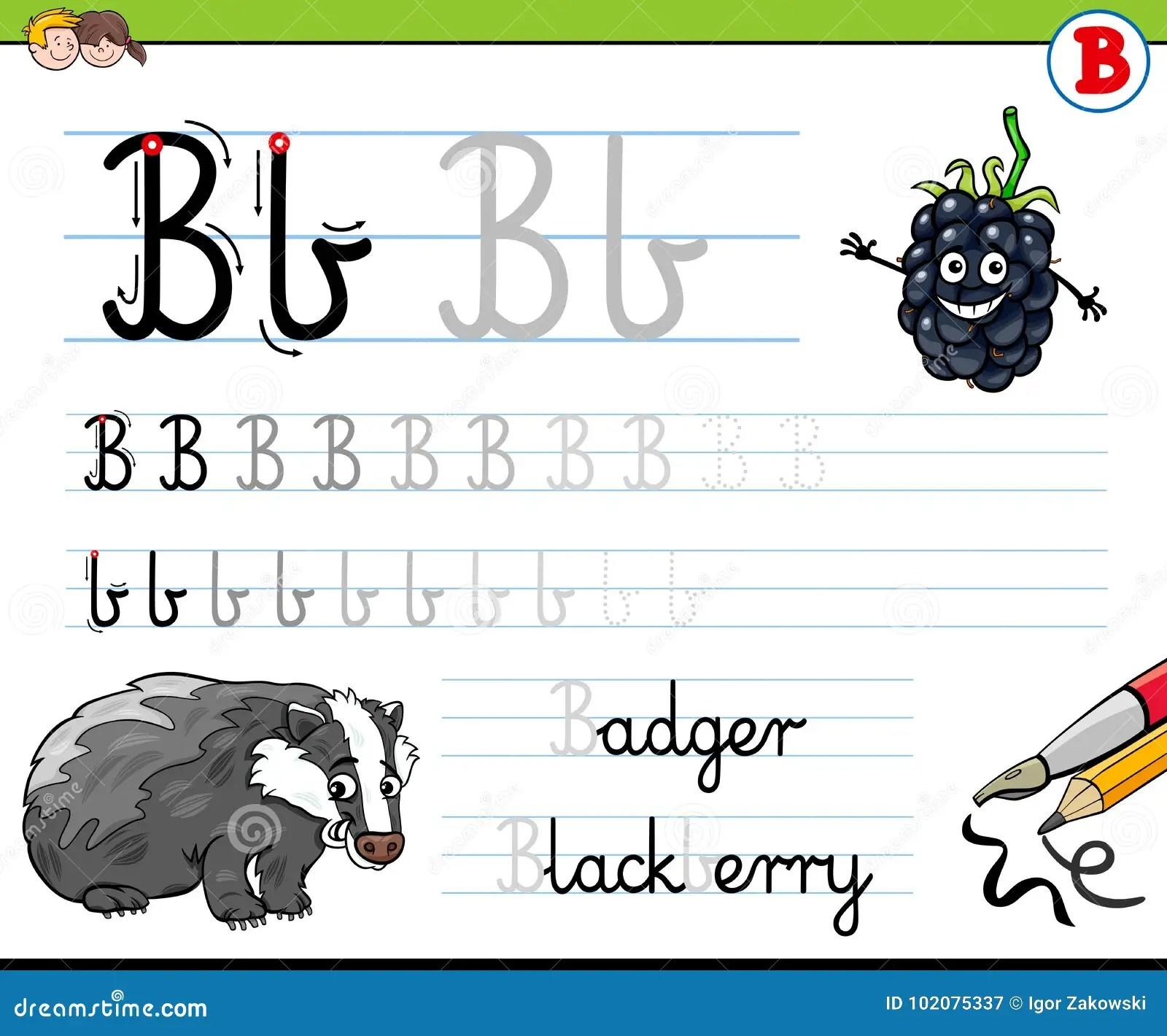 How To Write Letter B Worksheet For Kids Stock Vector