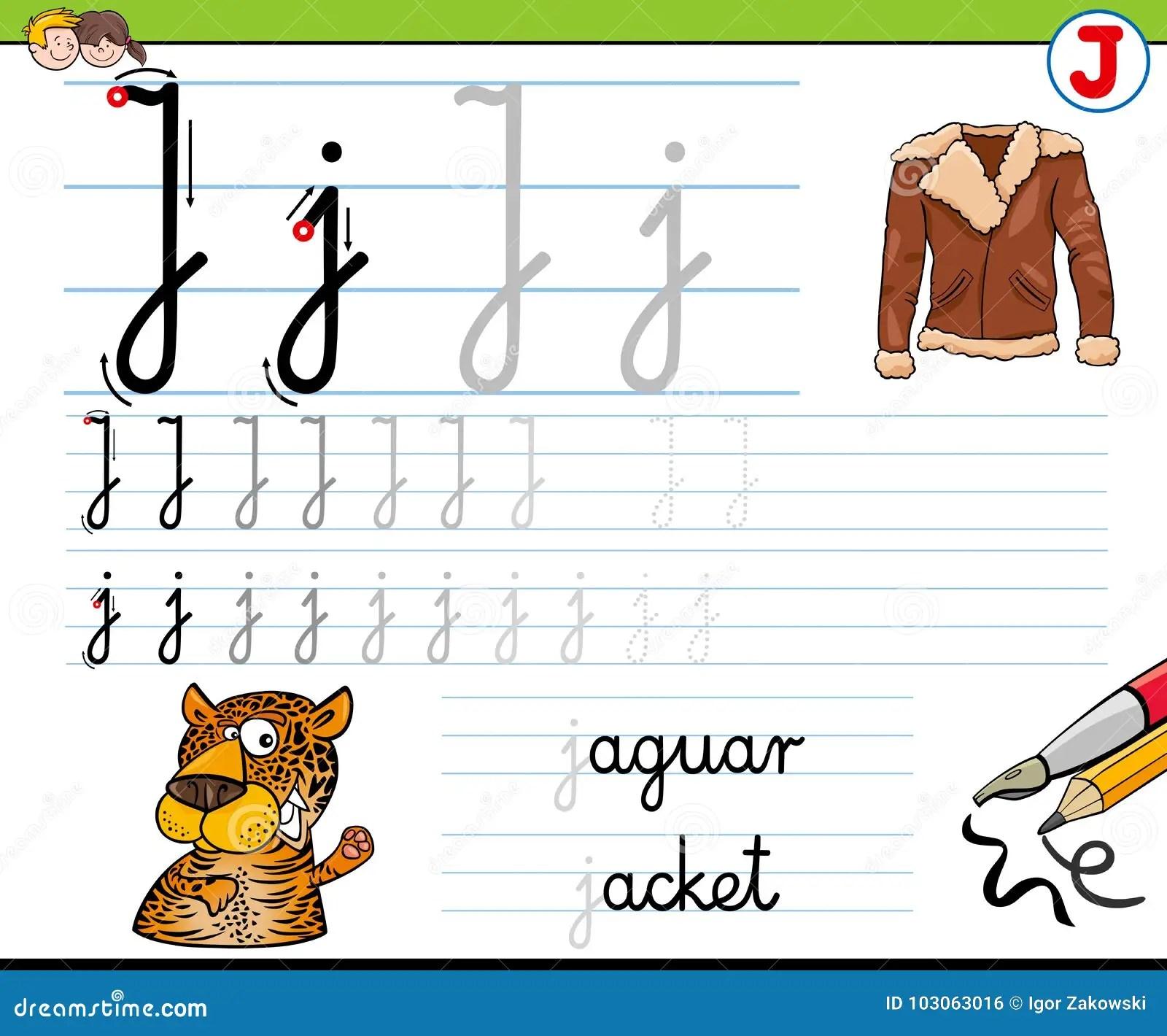 How To Write Letter J Worksheet For Kids Stock Vector