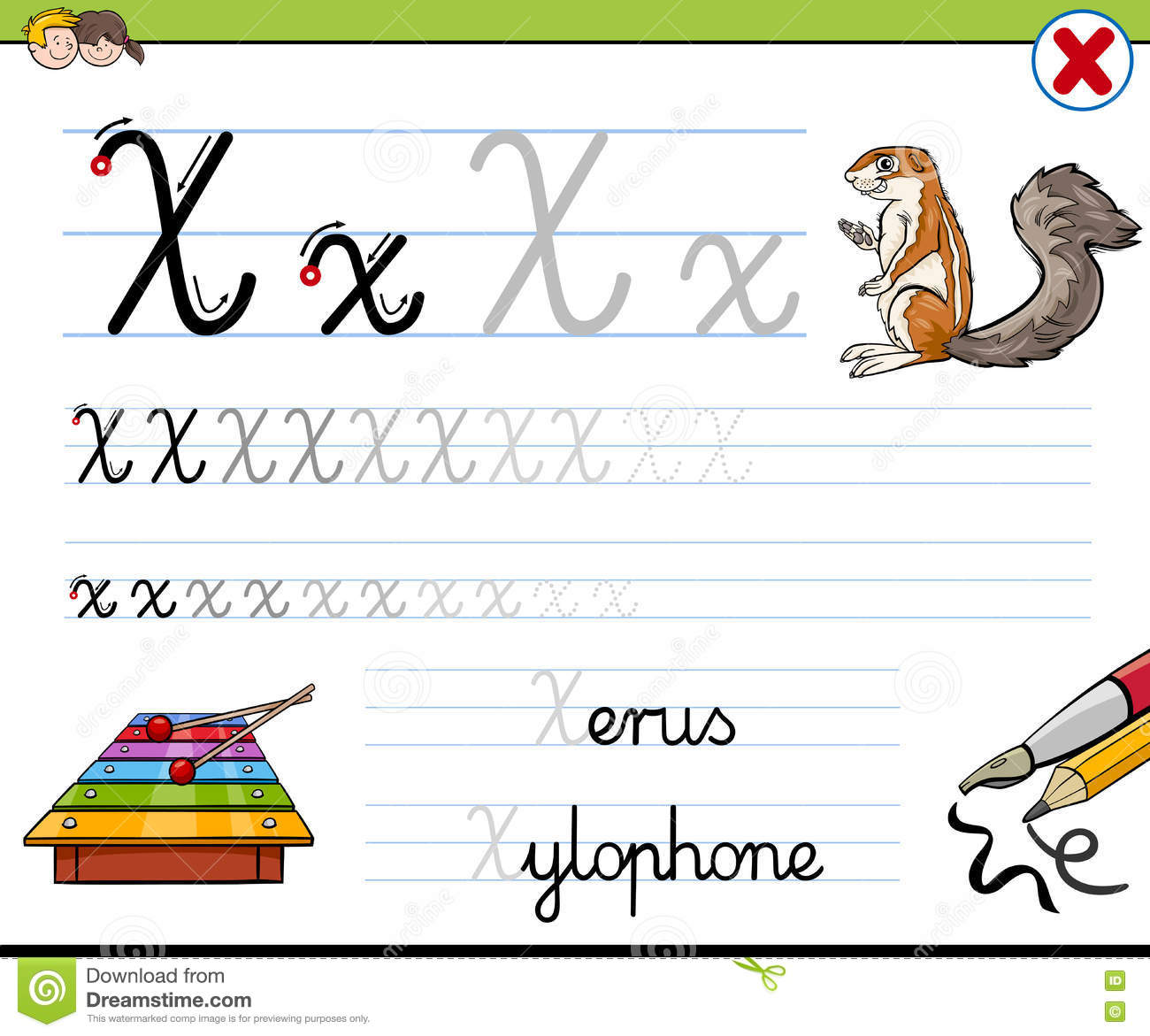How To Write Letter X Stock Vector