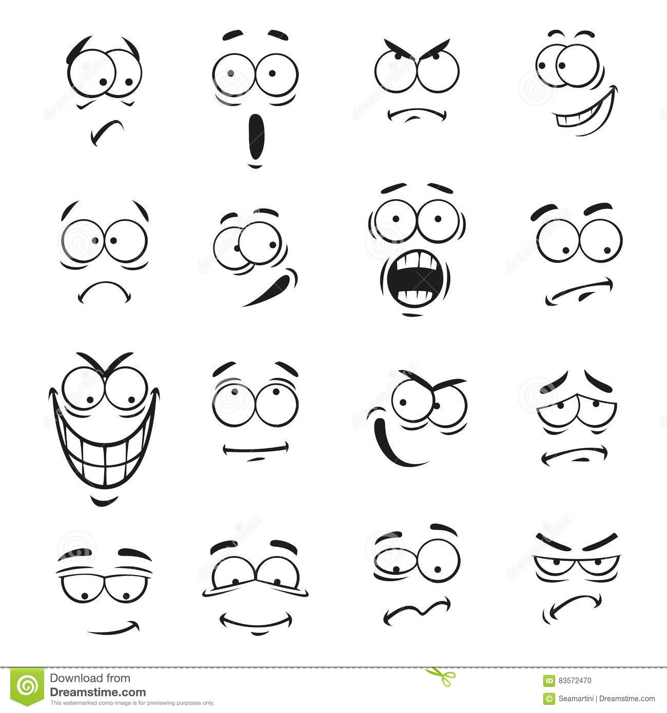 Human Cartoon Emoticon Faces With Expressions Stock Vector