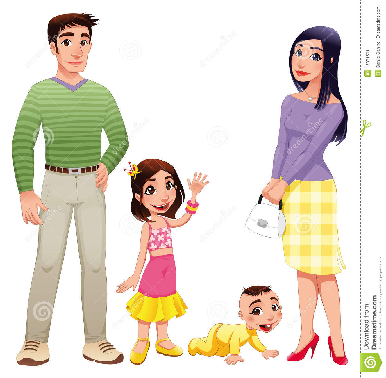 Human Family With Mother Father And Children Stock Image
