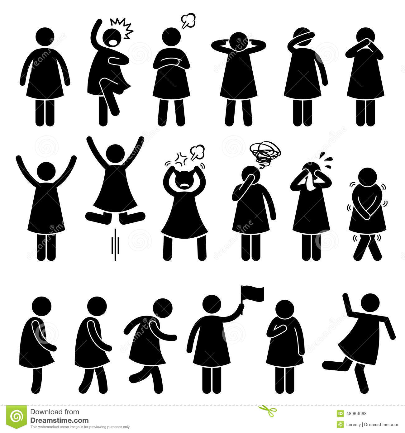 Human Female Girl Woman Action Poses Postures Icons Stock