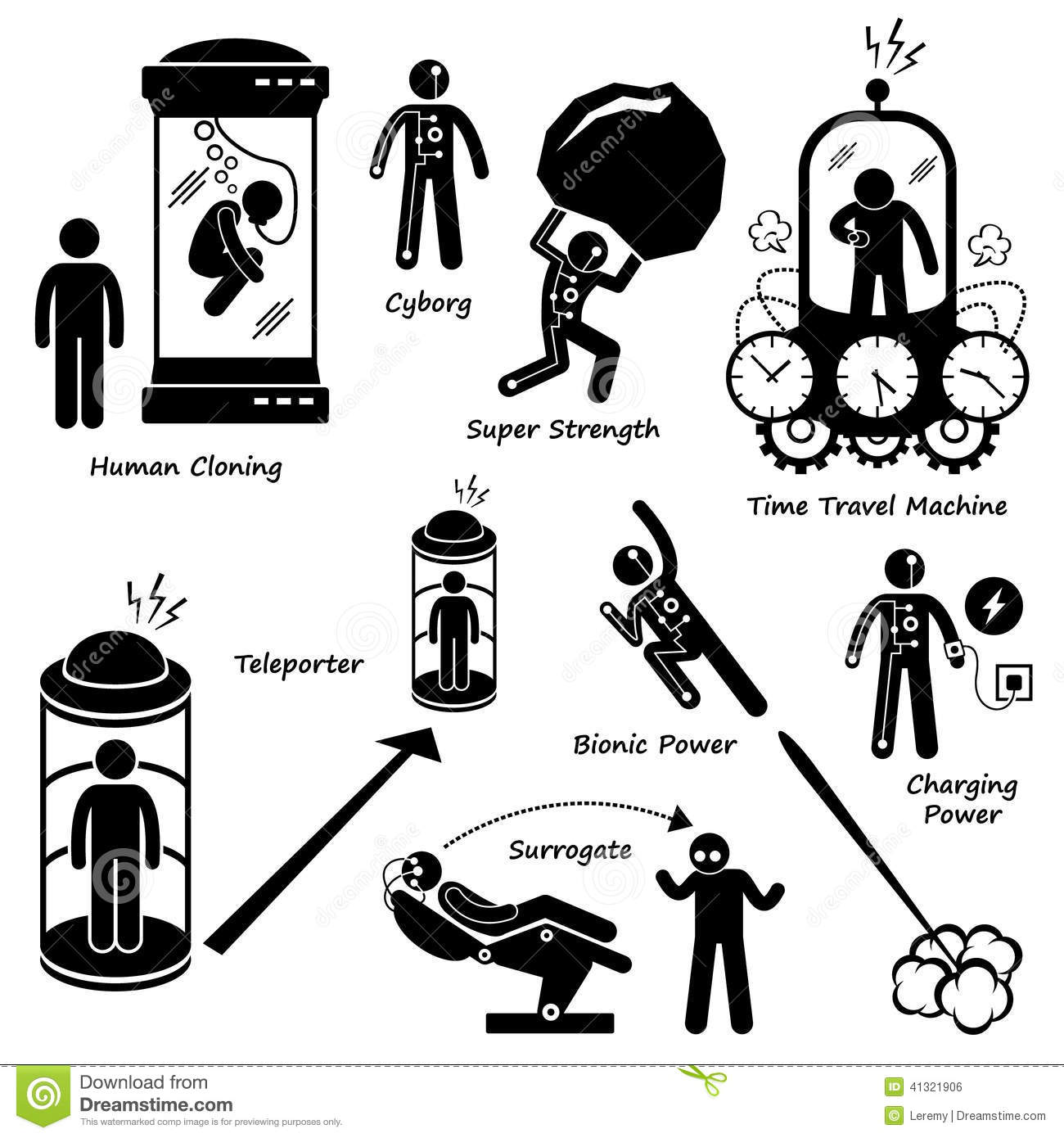 Human Future Technology Science Fiction Icon Cliparts