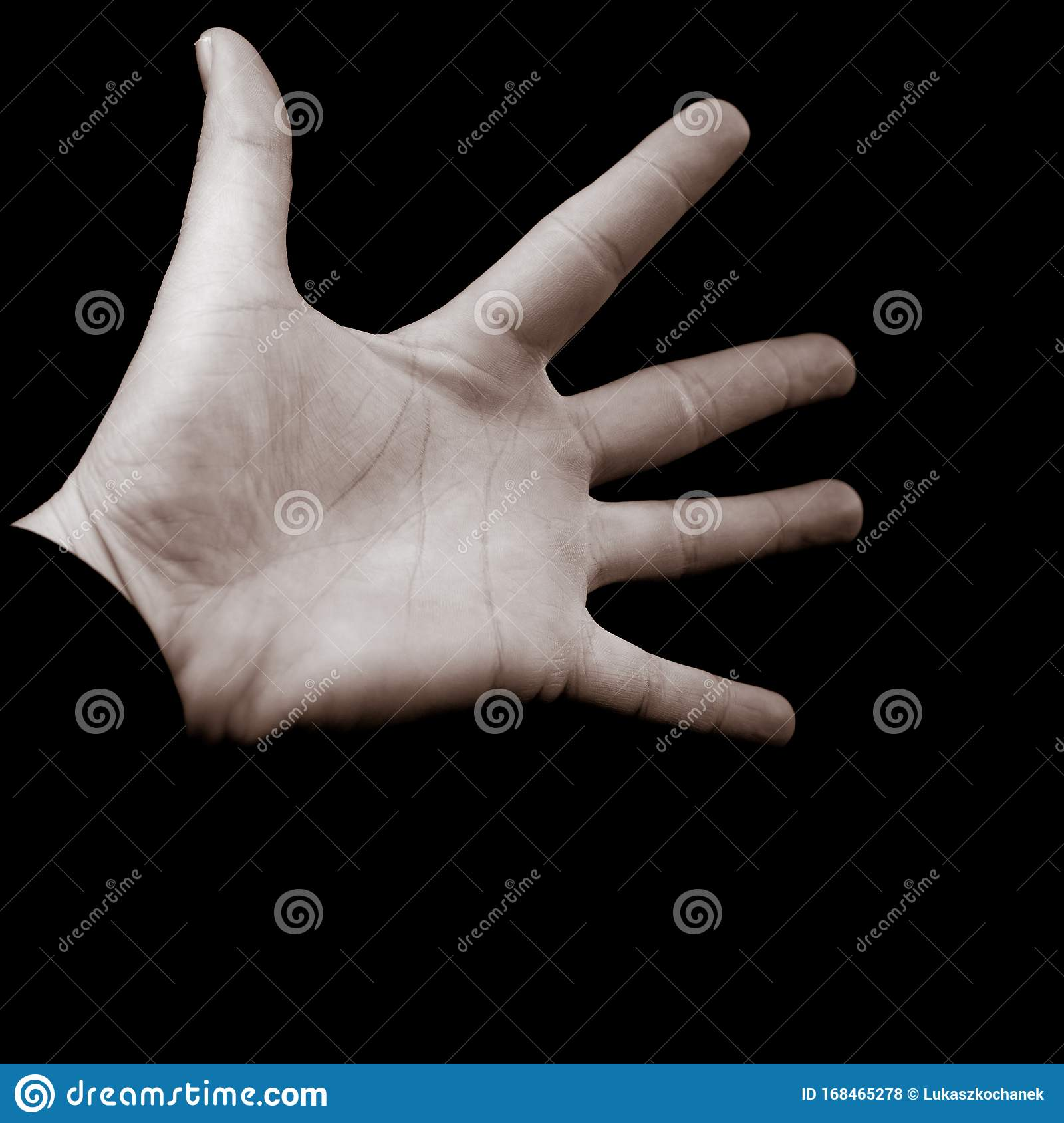 Human Hand On Black Background Showing Number Five 5