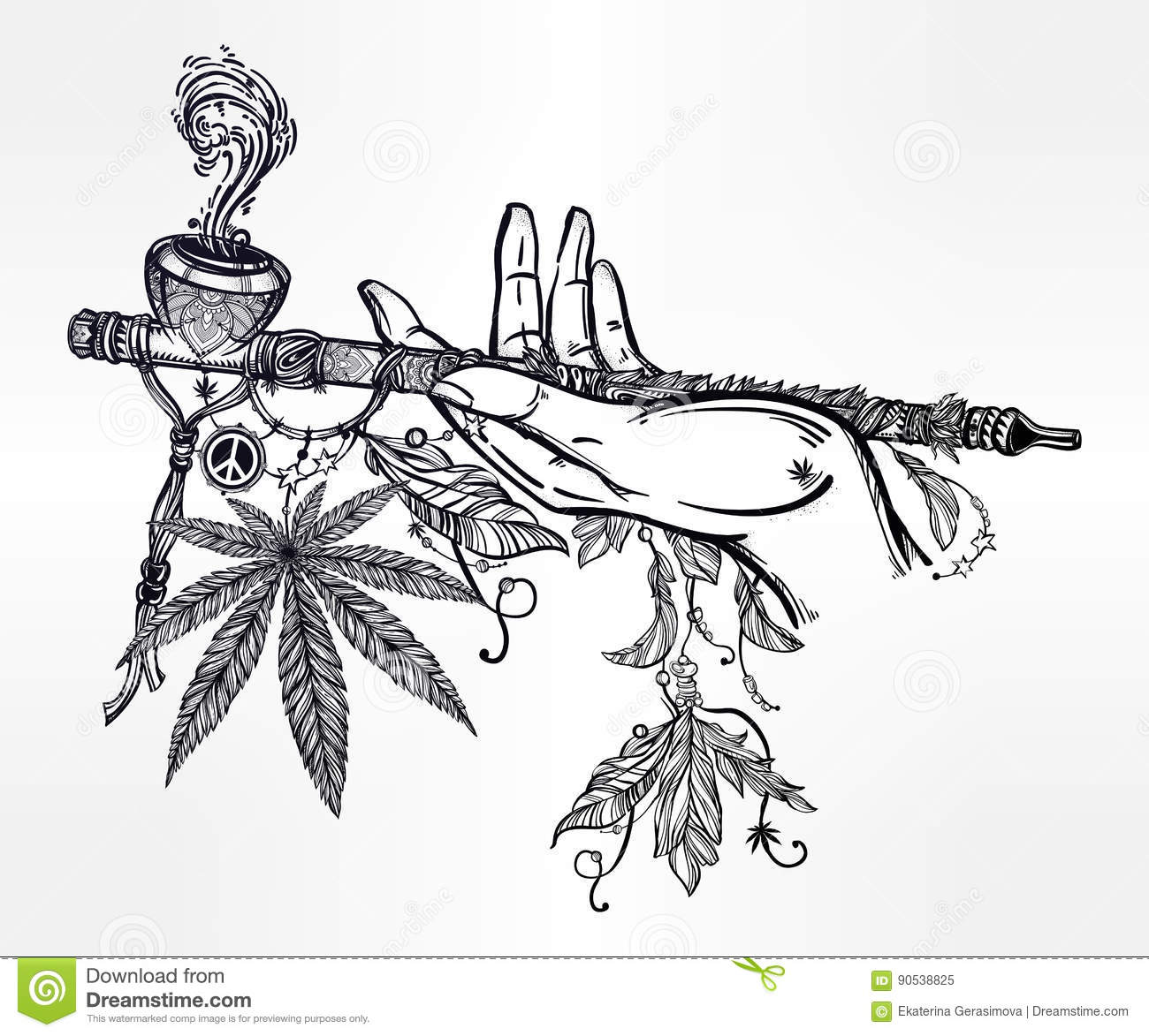 Human Hand Holding A Cannabis Smoking Pipe Of Peace Stock
