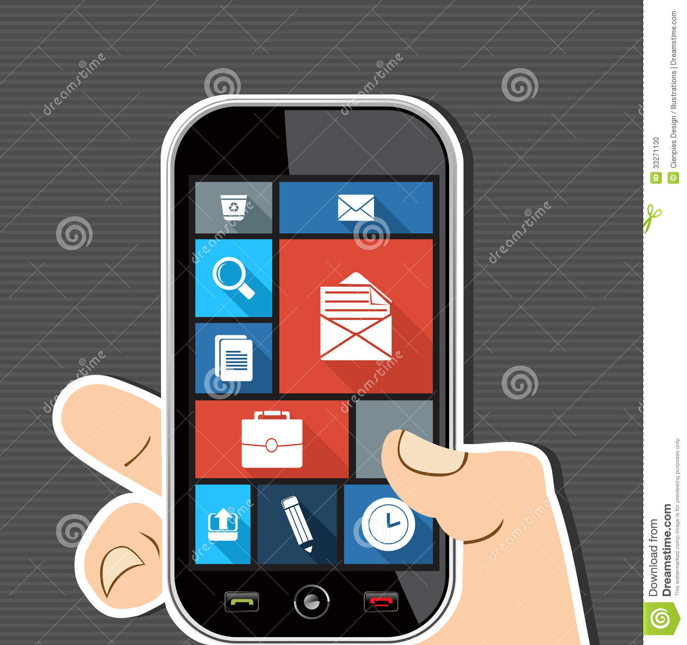 Human Hand Mobile Colorful Office Ui Apps Flat Ico Stock