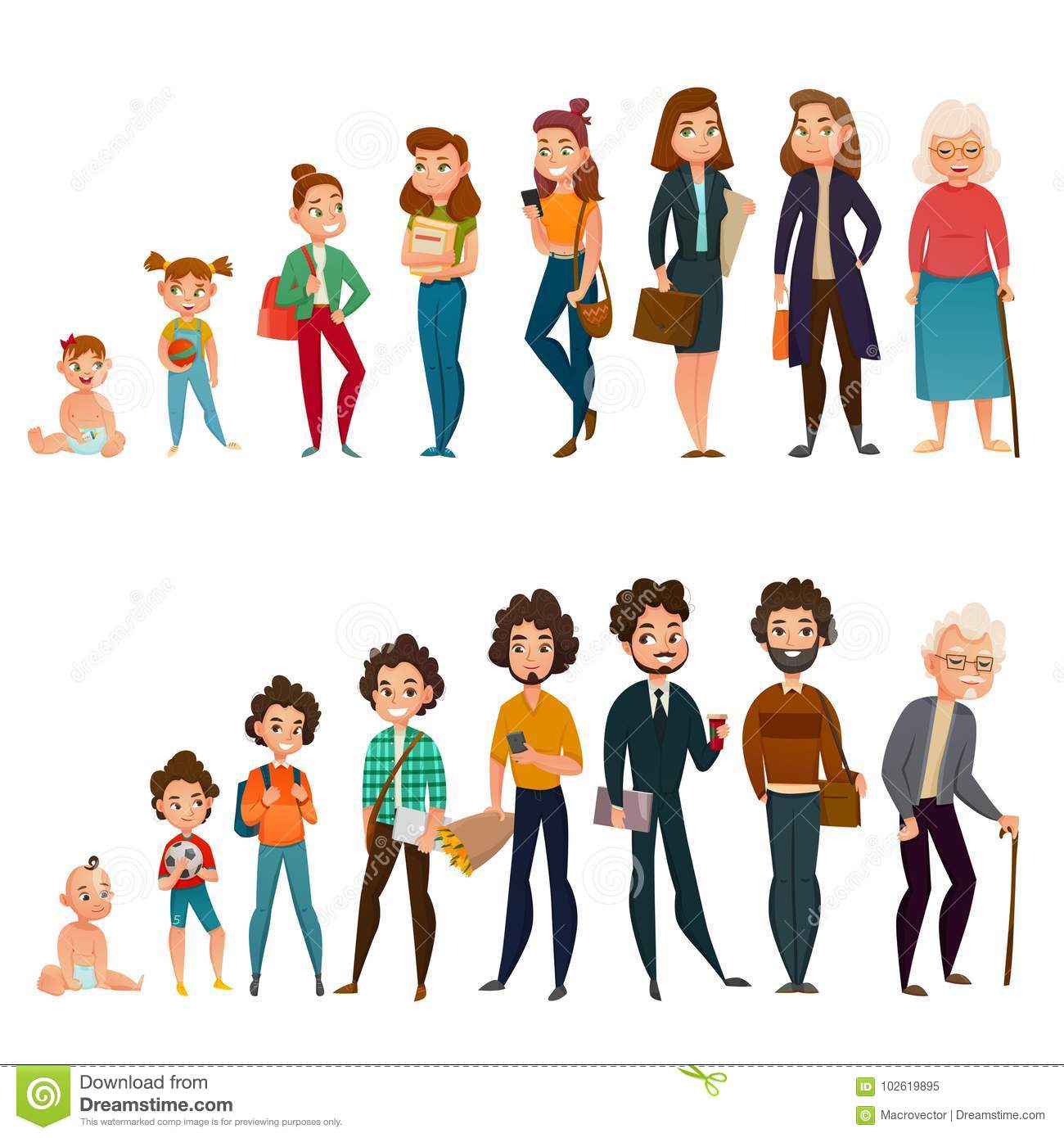 Human Life Cycle Set Stock Vector Illustration Of Elderly