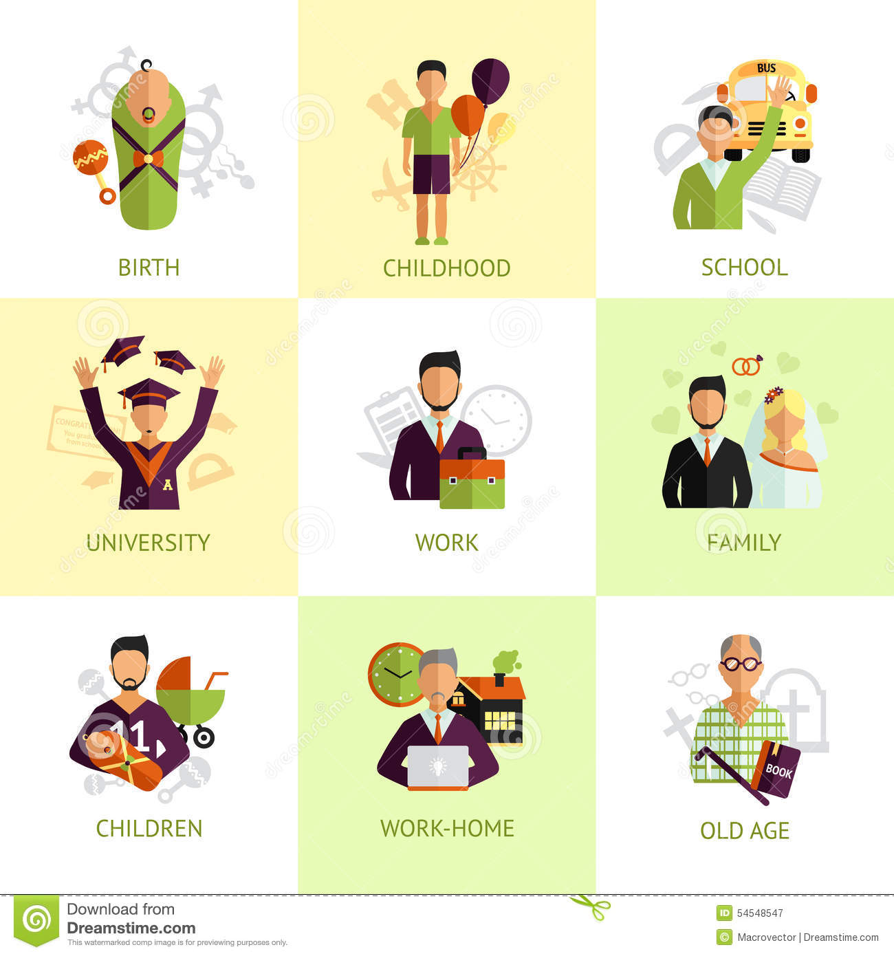 Human Life Stages Icons Set Flat Stock Vector