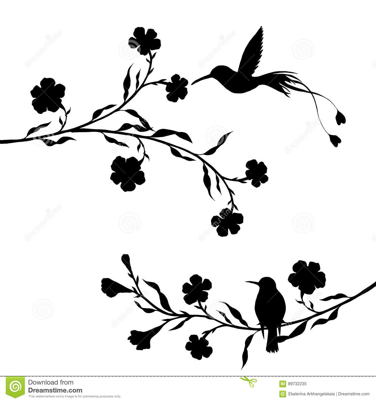 Hummingbirds And Flowers Silhouettes Stock Vector