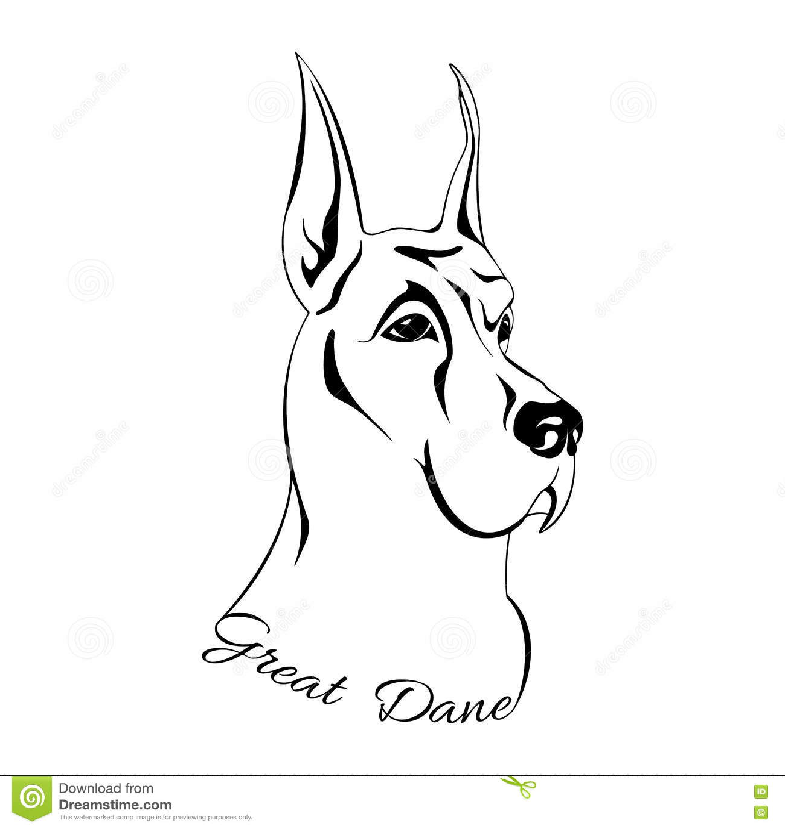 Hundekopf Deutsche Dogge Vektor Abbildung Illustration