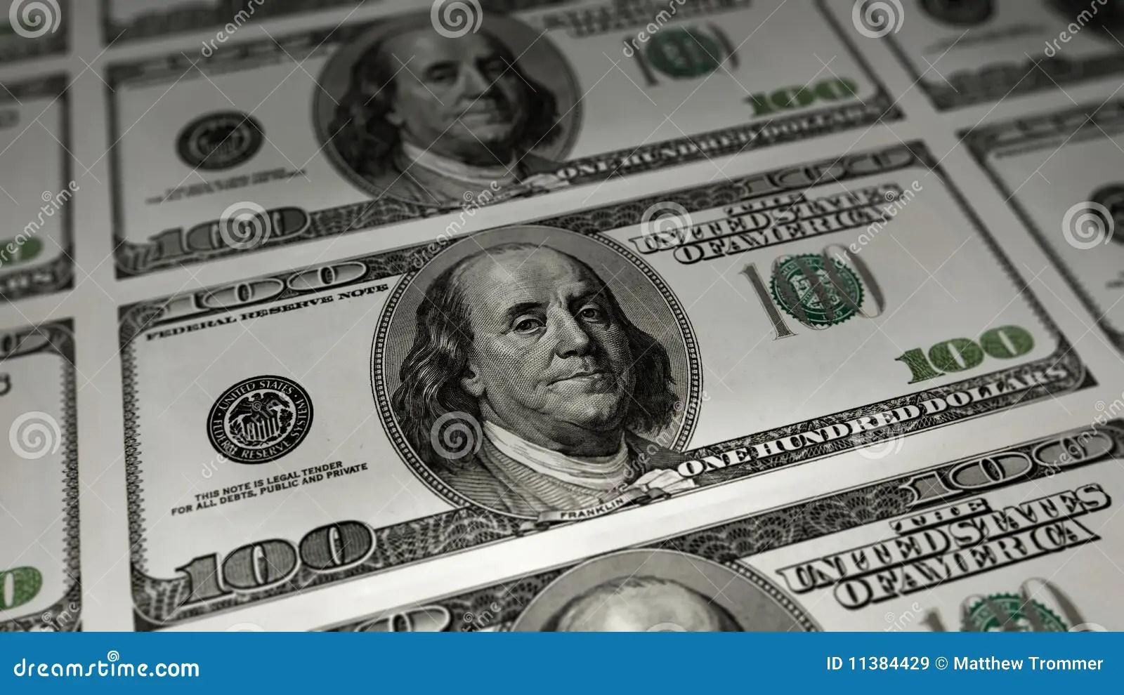 Hundred Dollar Sheet Stock Illustration Illustration Of