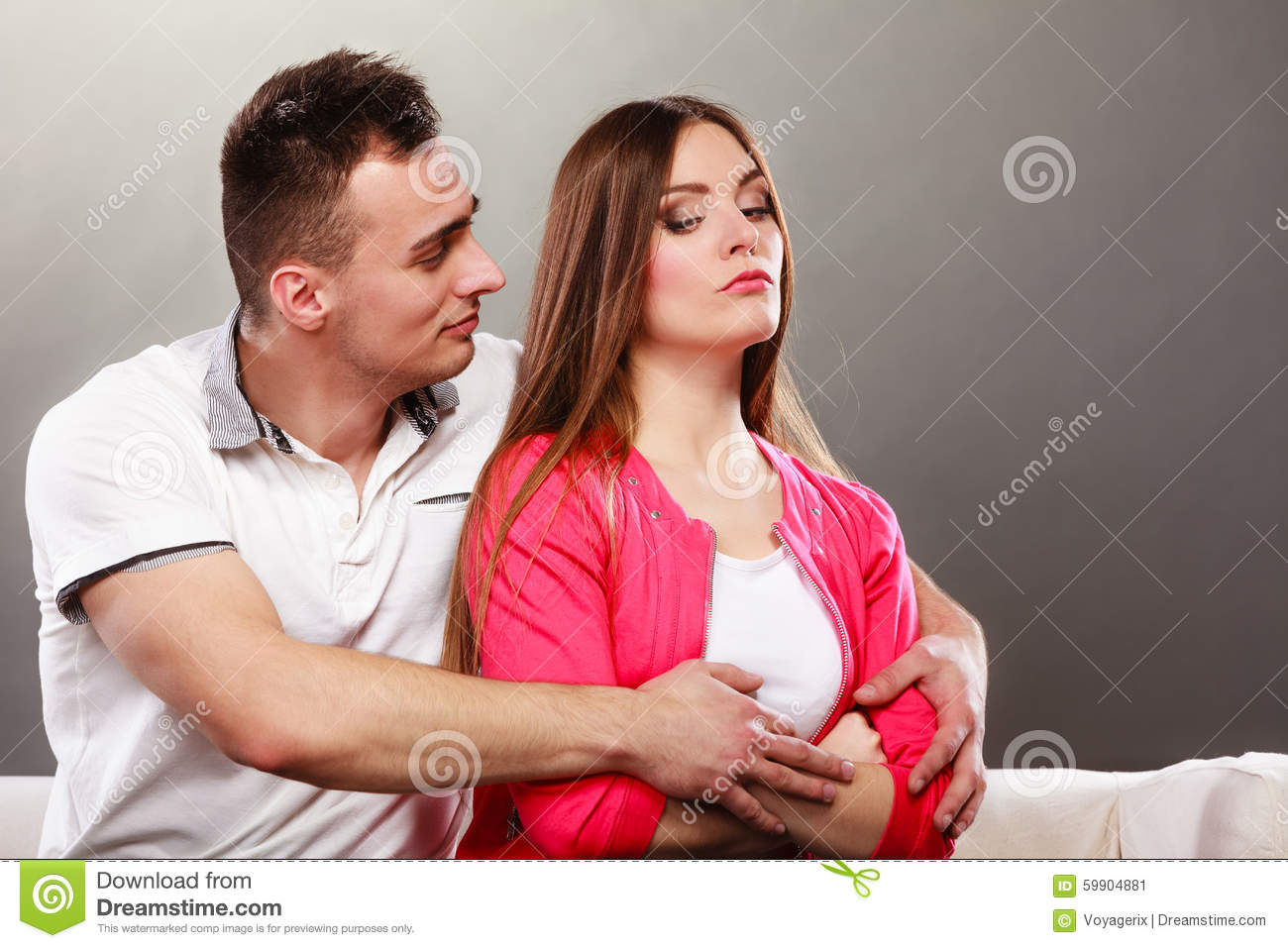 Husband Hugging Unhappy Wife Offended Woman Stock Image