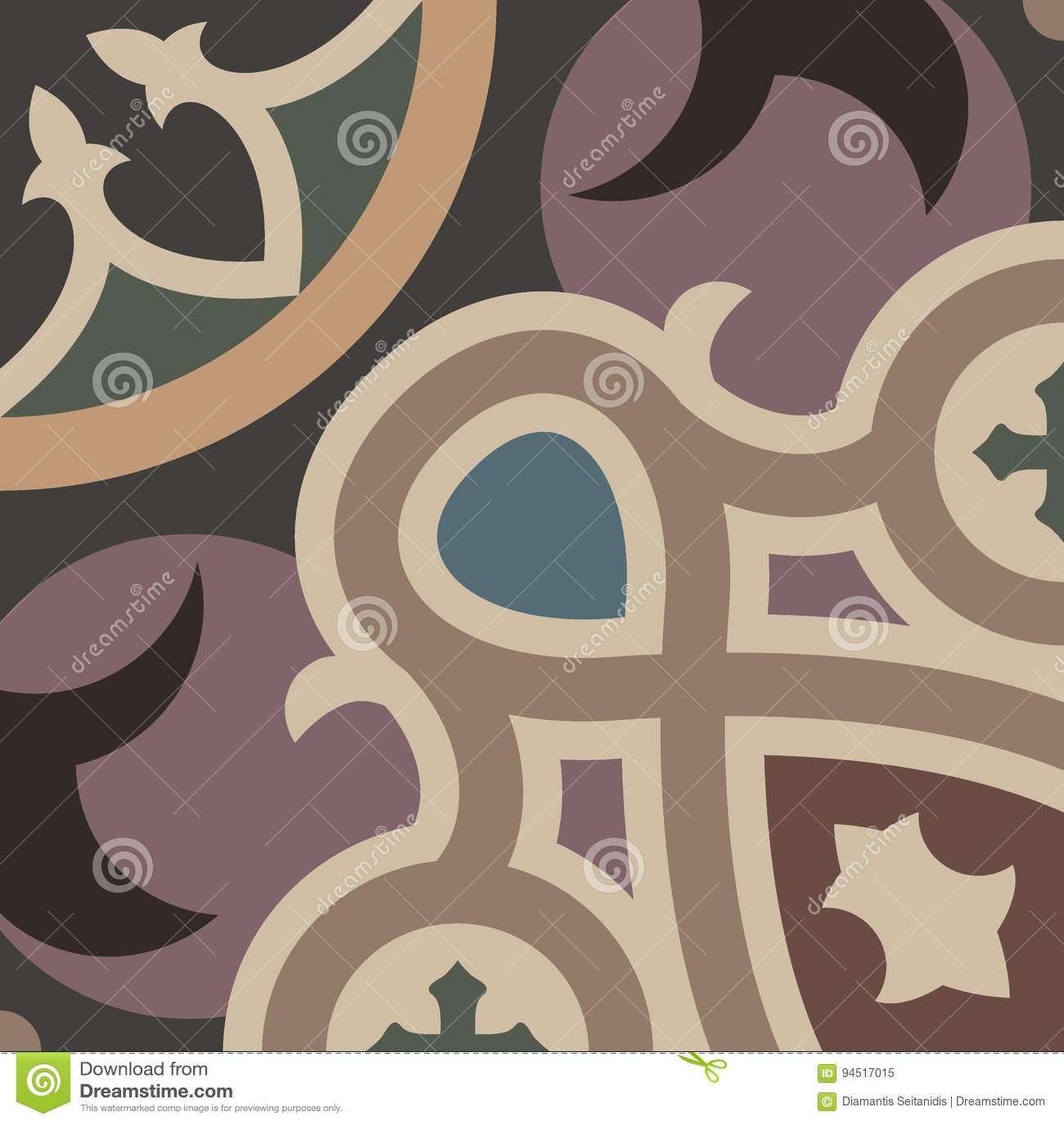 hydraulic vintage cement tiles stock vector illustration of italian decoration 94517015