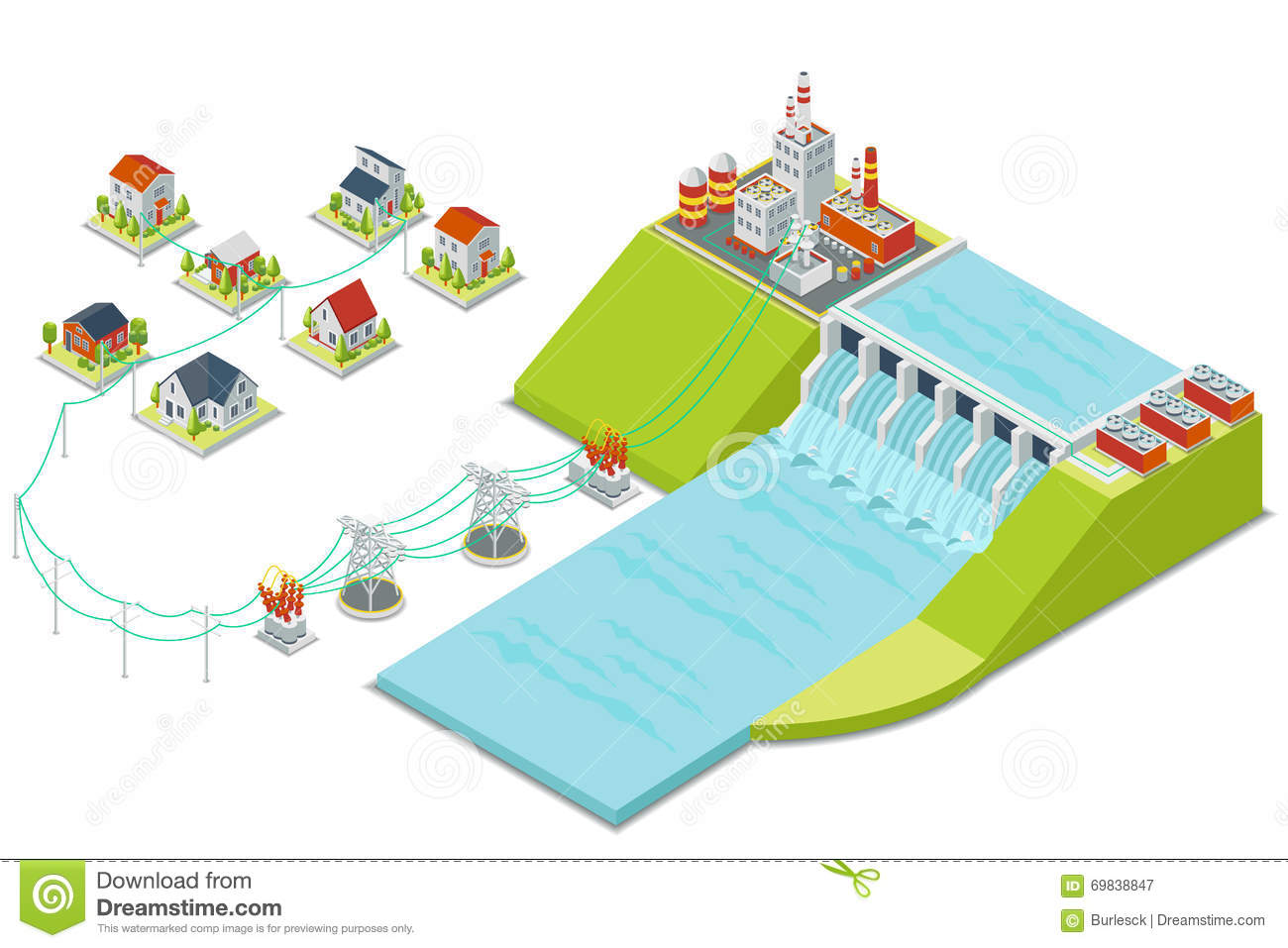 Hydro Power Plant 3d Isometric Electricity Concept Stock Vector