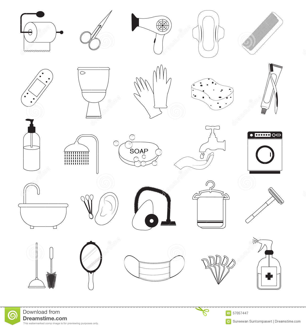 Hygiene And Bathroom Icons Set Stock Vector