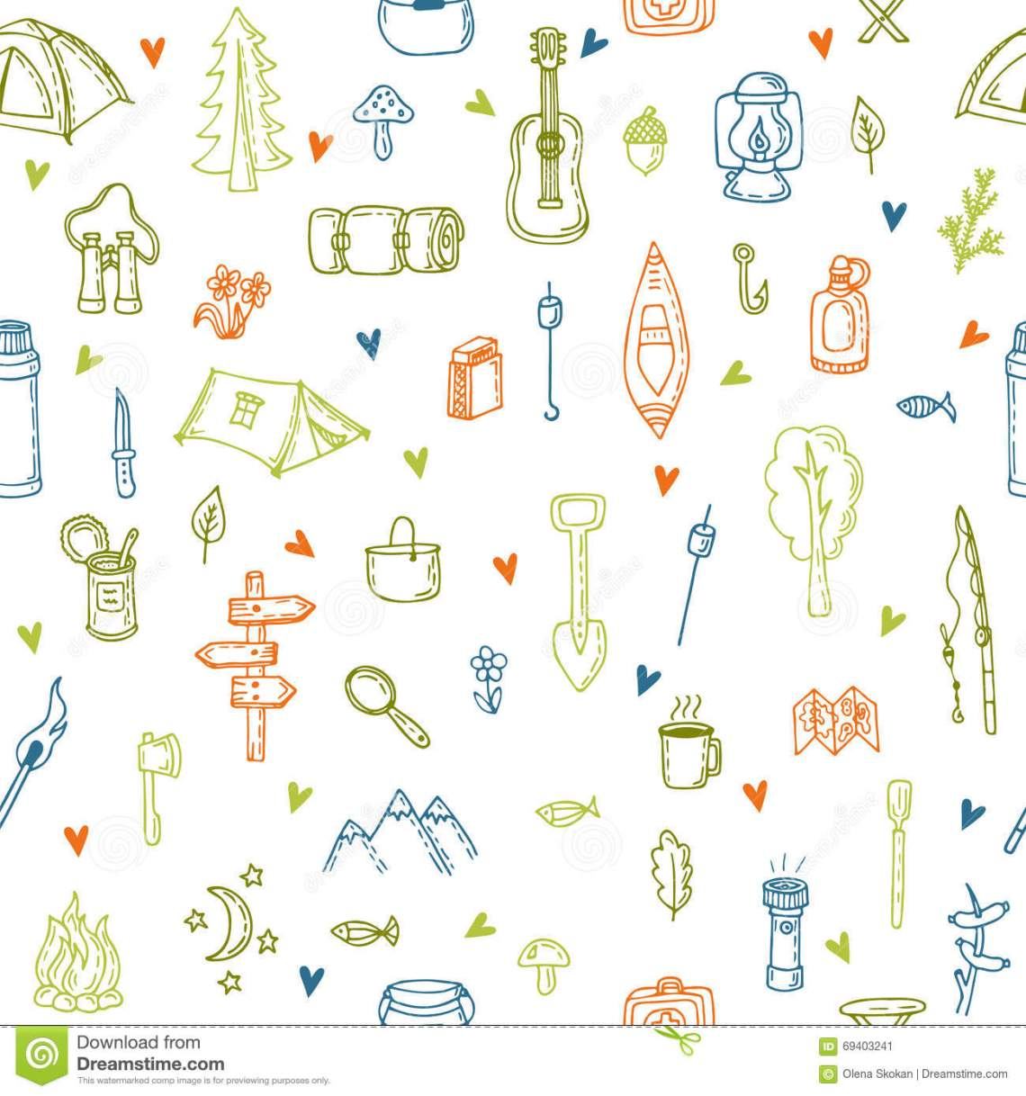 Download I Love Camping. Hand Drawn Hike Seamless Pattern With ...