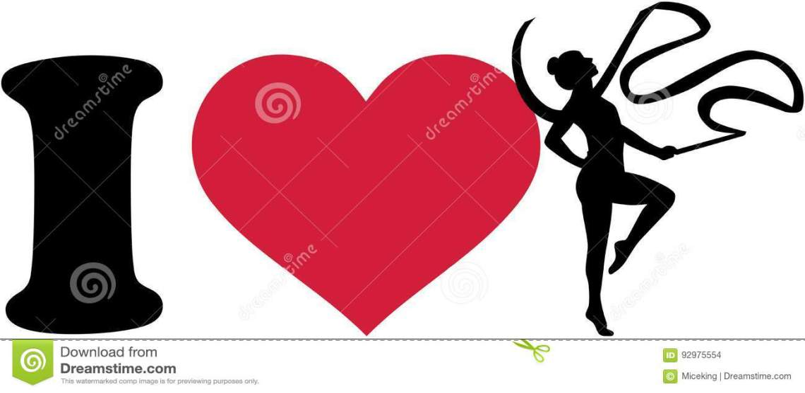 Download I Love Gymnastics With Ribbon Stock Vector - Illustration ...