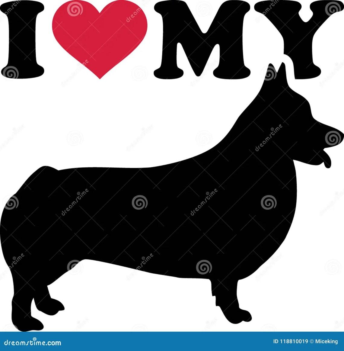 Download I Love My Welsh Corgi Pembroke Silhouette Stock Vector ...