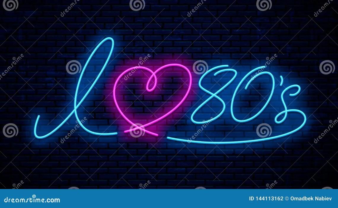 Download I Love 80`s Neon Text. Vector Signboard Stock Vector ...