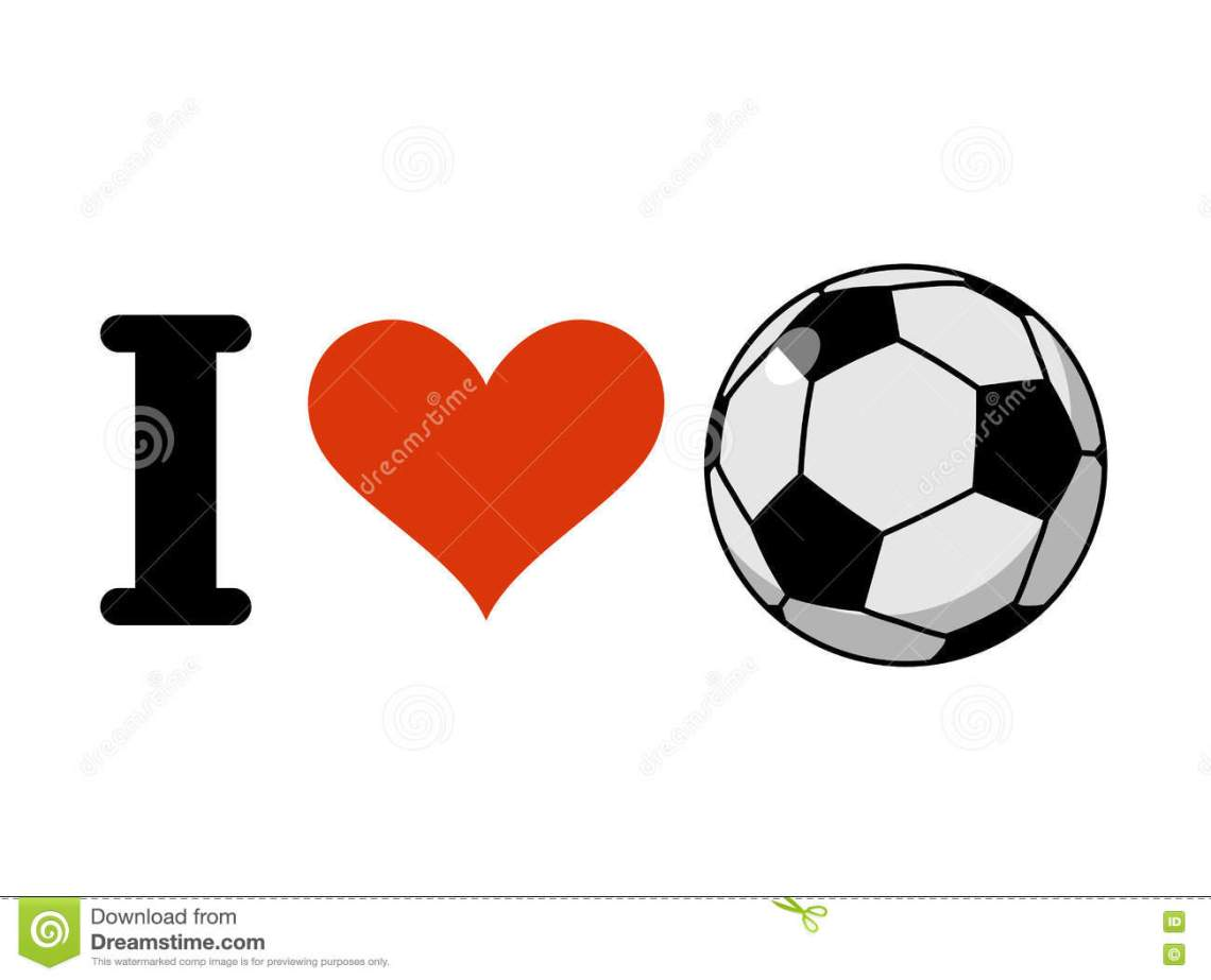 Download I Love Soccer. Heart And Ball. Logo For Sports Fans Of ...