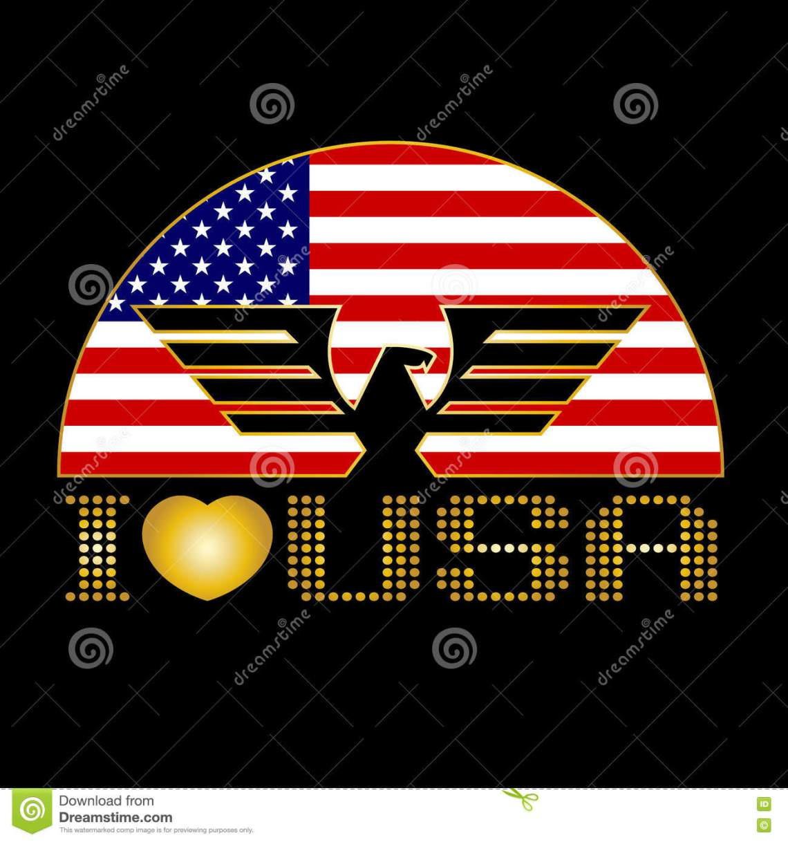 Download I Love USA. Eagle And Flag Of The United States Vector ...