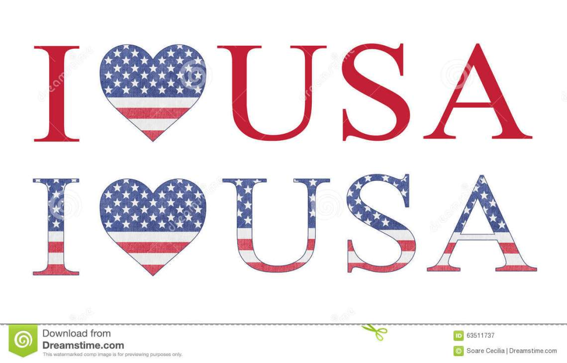 Download I Love USA Letters And Heart, Flag Colors Stock ...