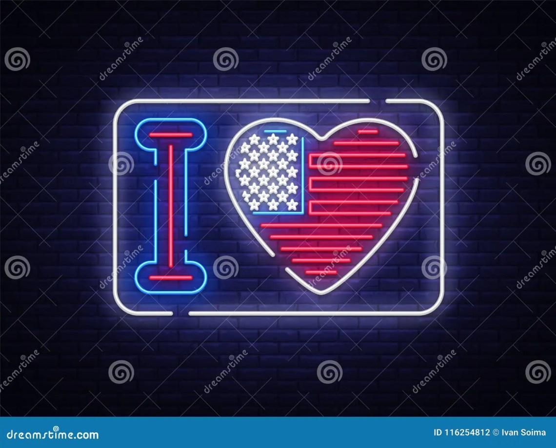 Download I Love The USA Slogan Neon Sign. Night Bright Signboard I ...