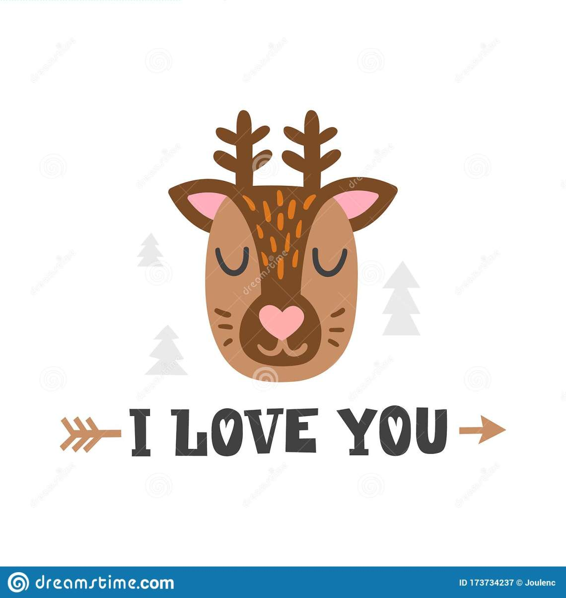 Download I Love You. Deer Head And Romantic Hand Drawn Quote ...