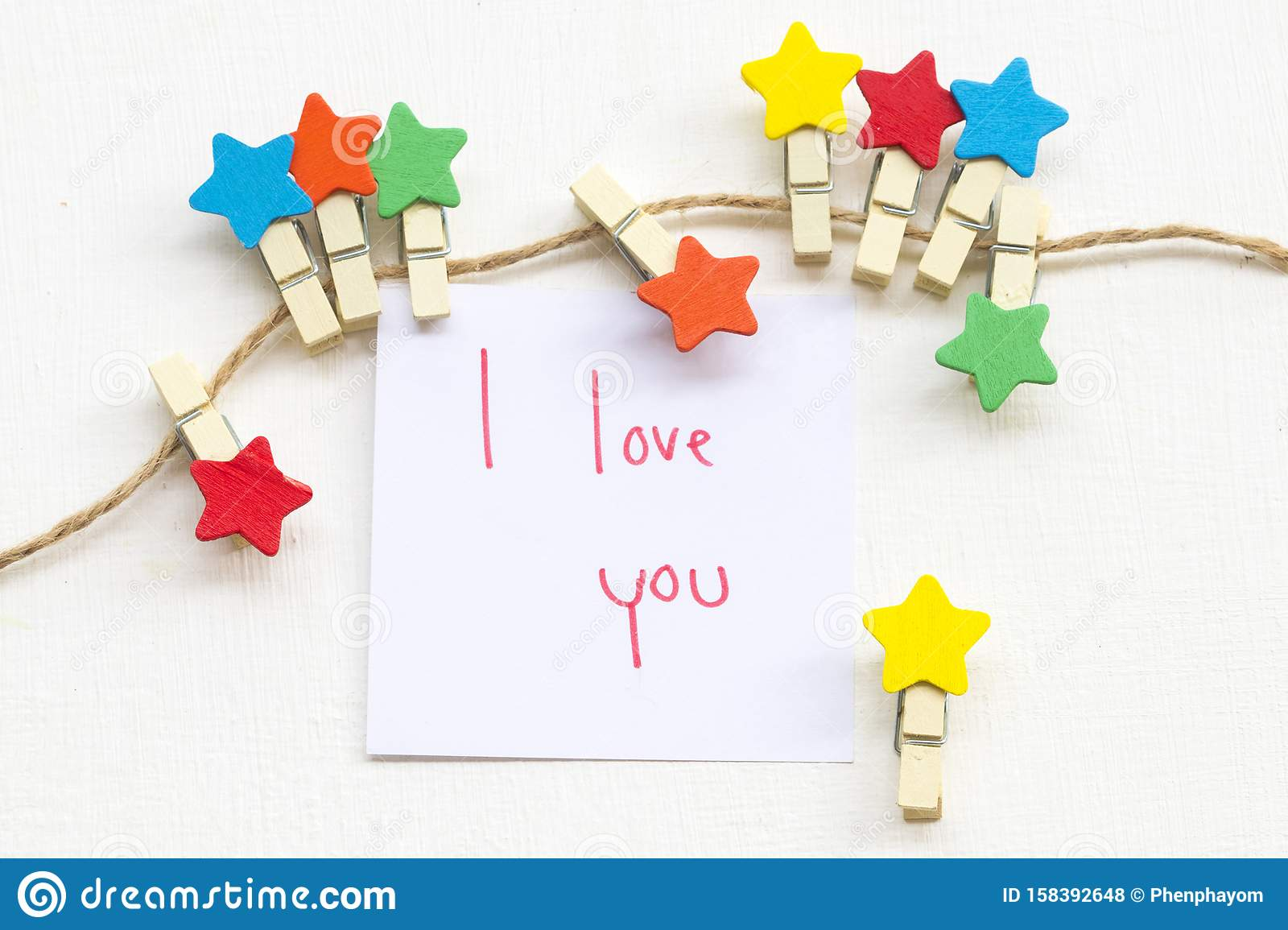 I Love You Message Card Handwriting With Colorful Wooden
