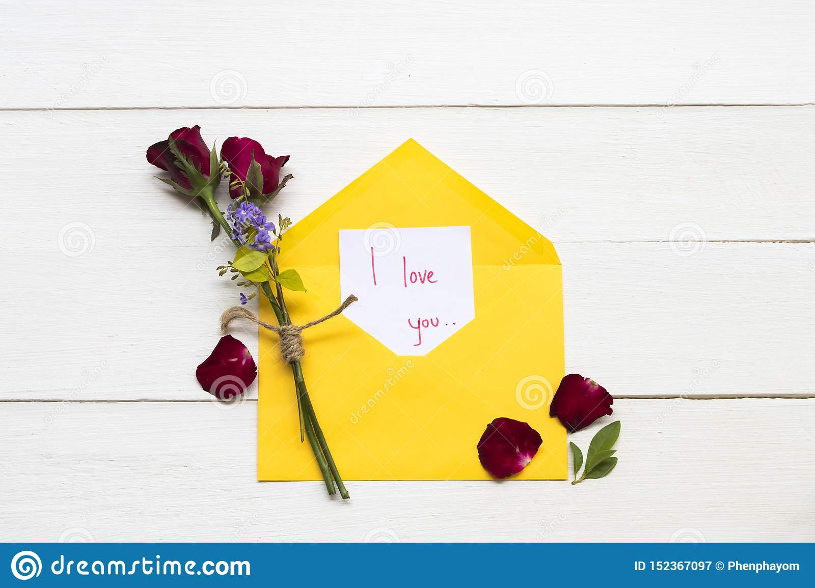 I Love You Message Card Handwriting With Red Rose Flowers
