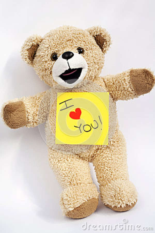 Teddy Bear And A Heart With The Words I Love You Stock