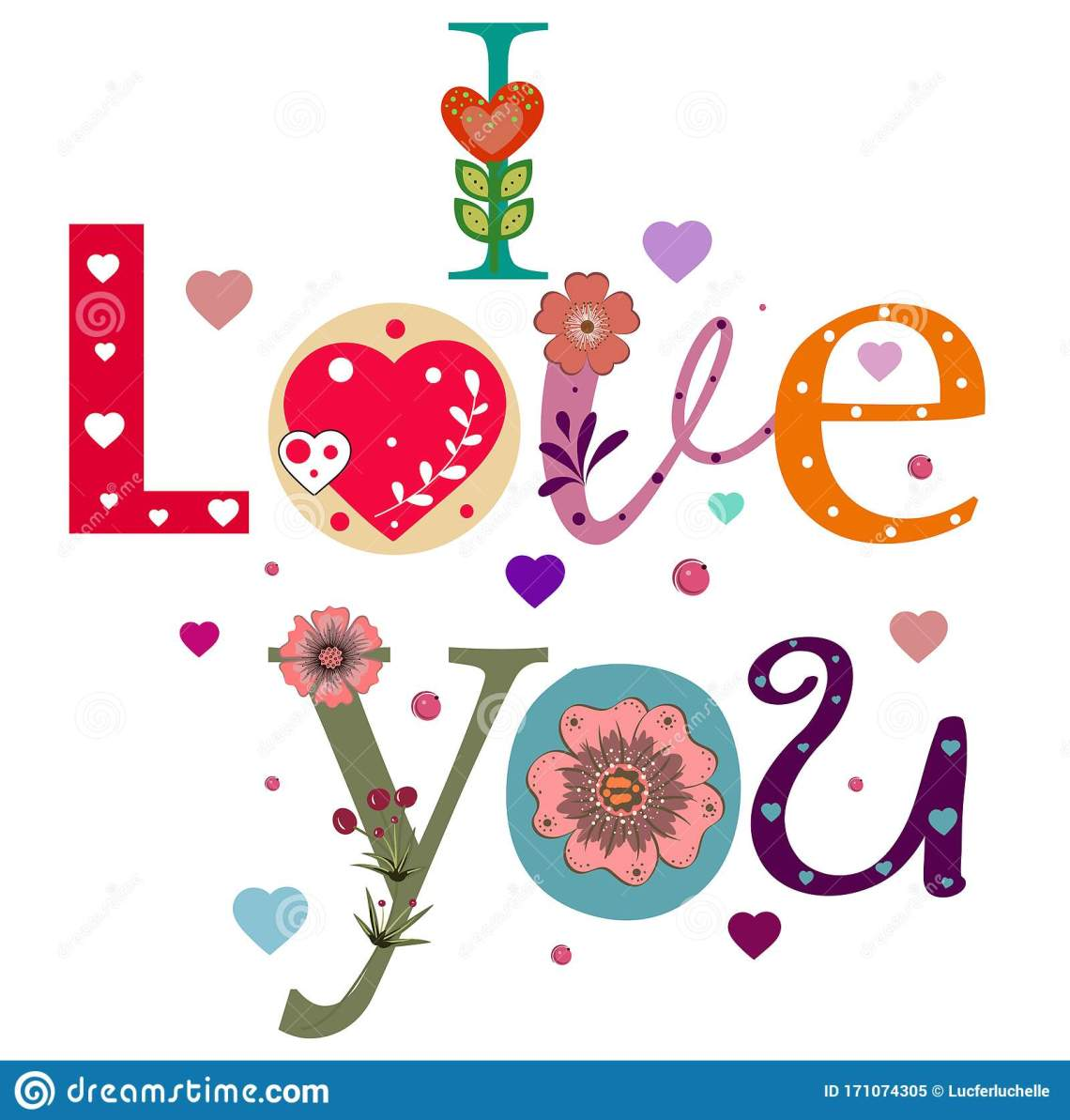 Download I LOVE YOU Vector. Text Decorated With Hearts And Flowers ...