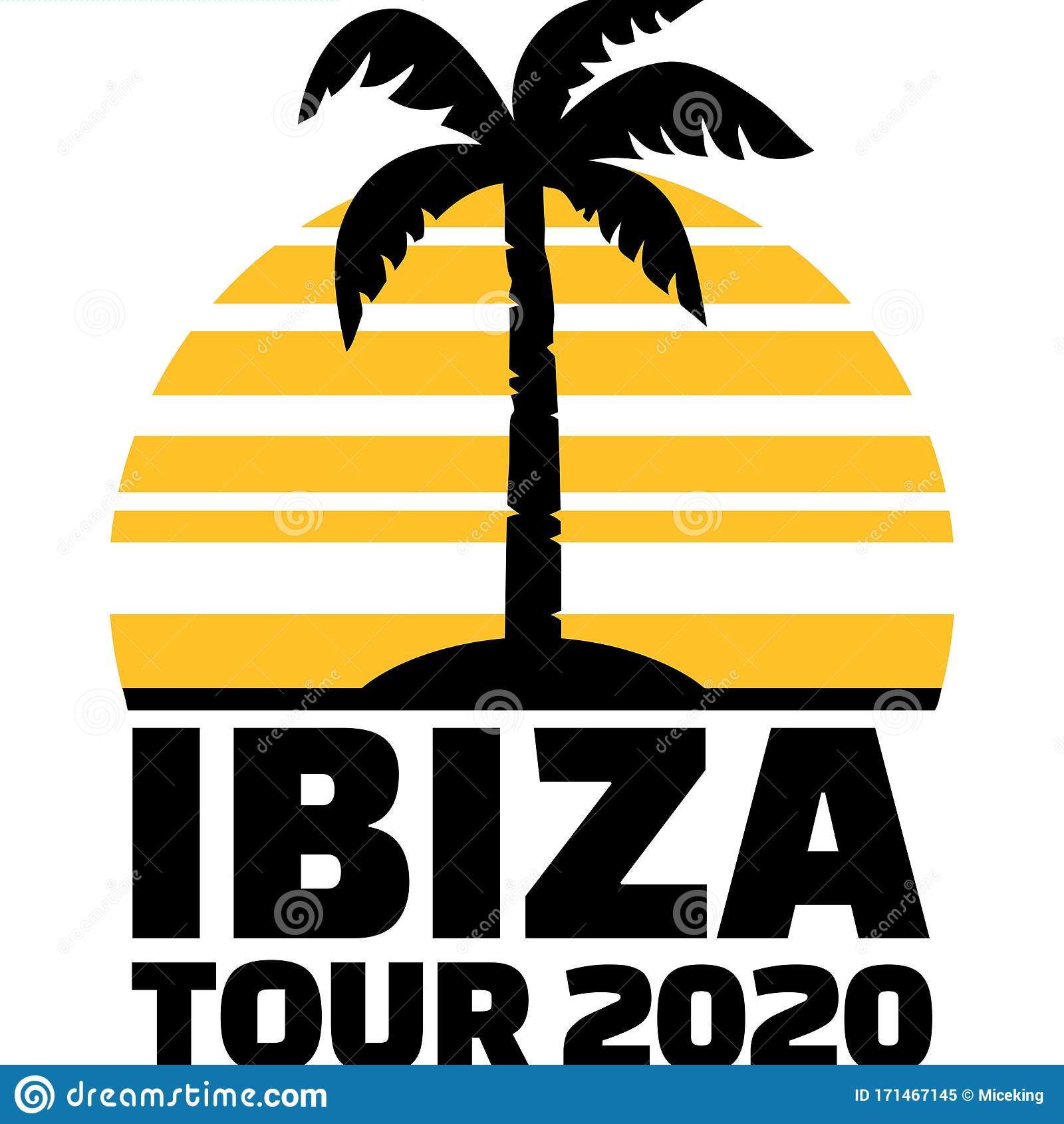 Ibiza 20 Palm Tree Stock Vector Illustration Of Party