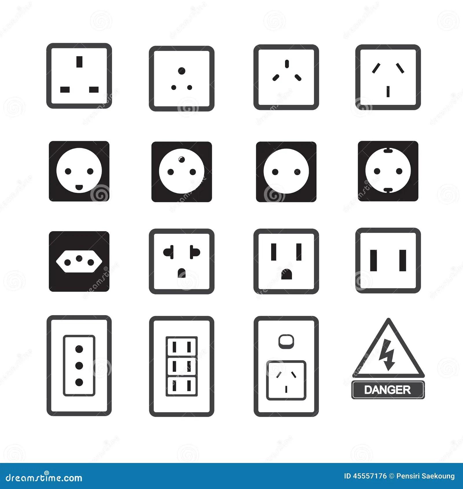 Icone De Debouche Electrique Et De Prise Illustration De
