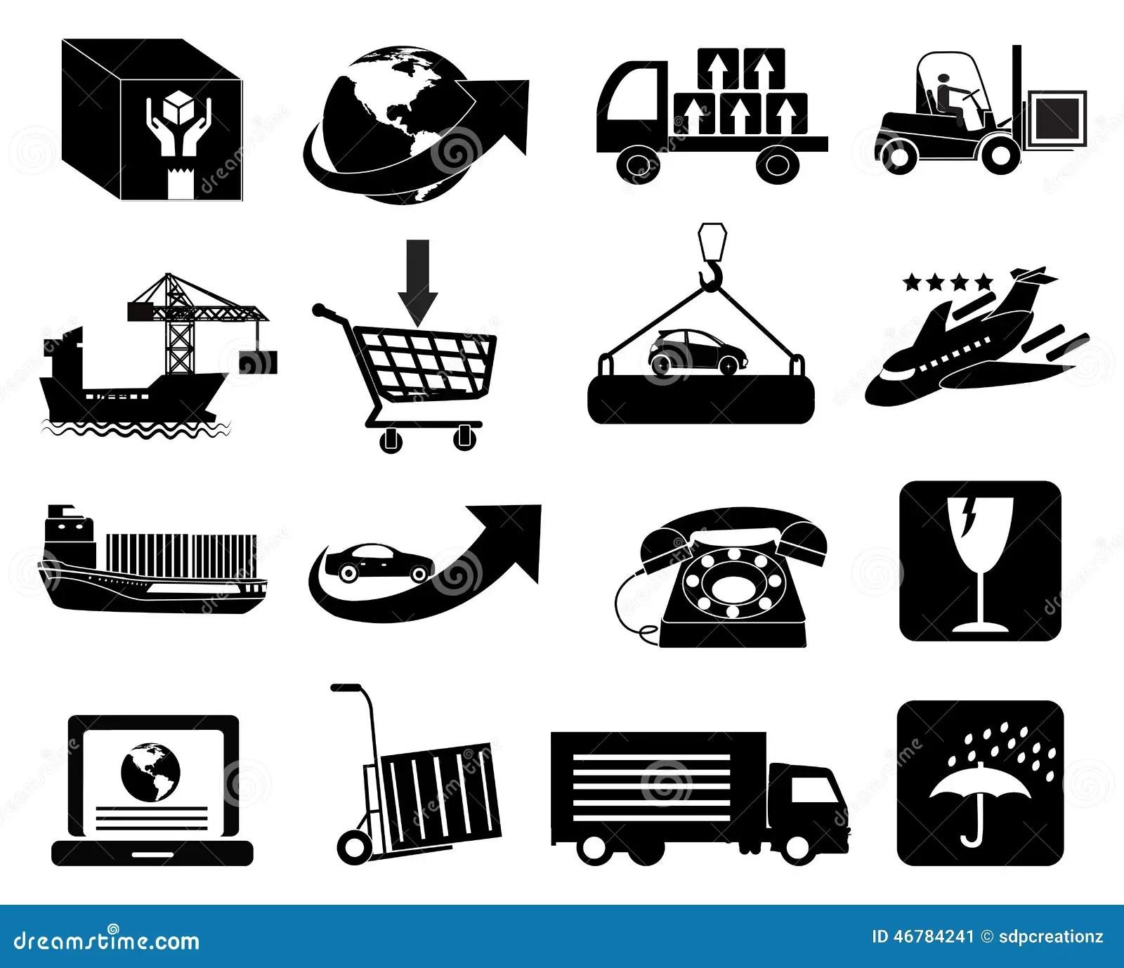 Icones D Emballage Et De Livraison De Logistique D