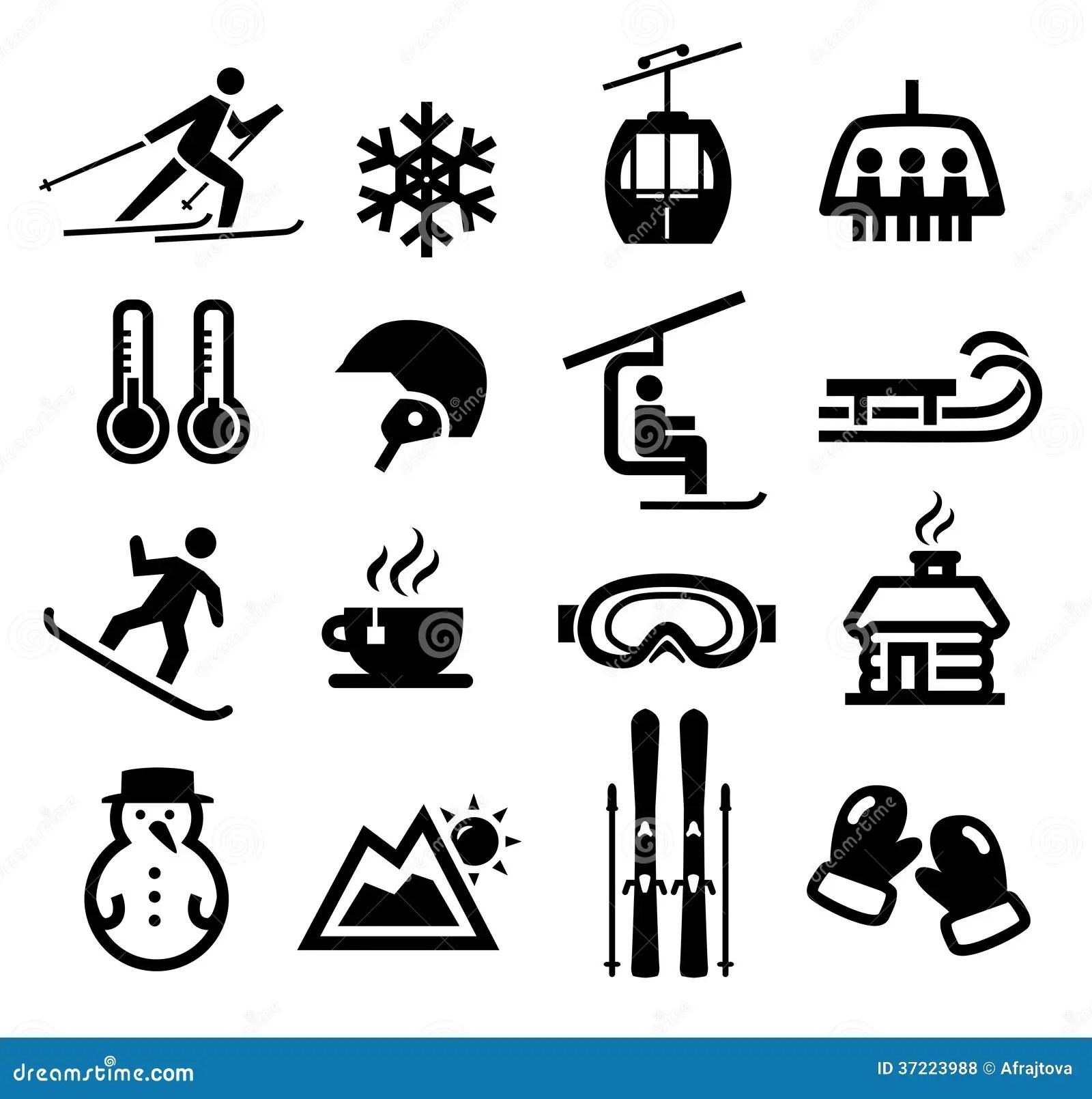Icones D Hiver Illustration De Vecteur Illustration Du