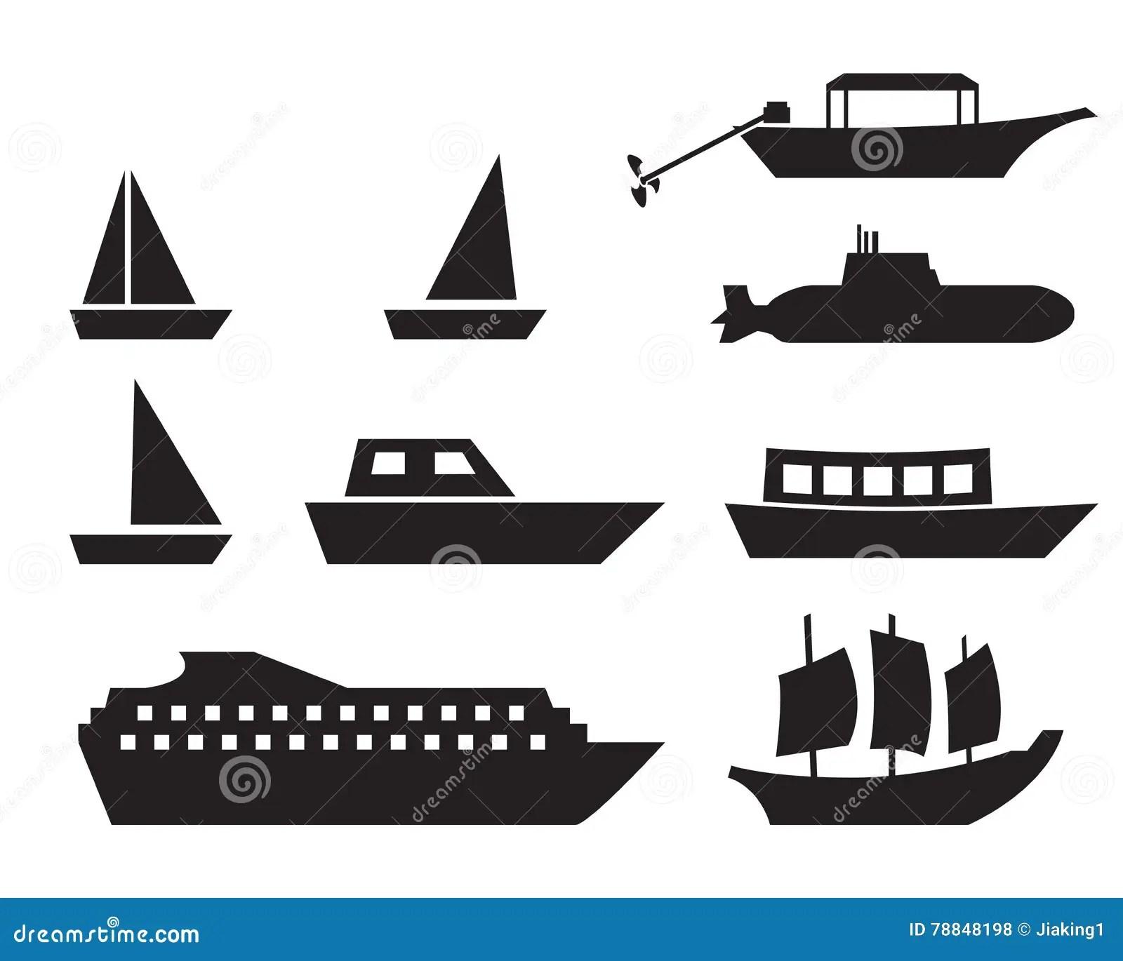 Icones De Bateau Et De Bateau Dans Le Style Simple