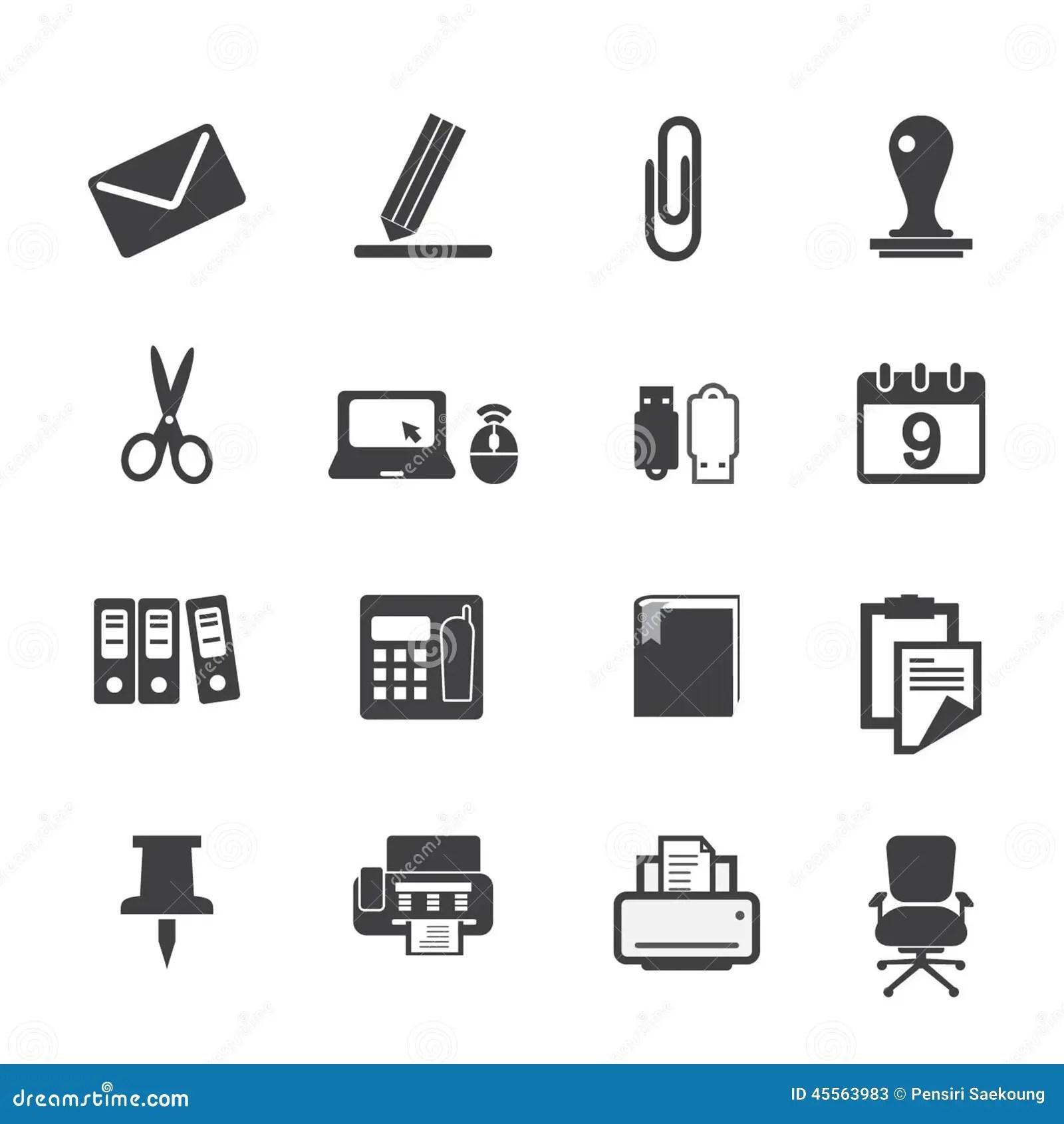 Icones De Fournitures De Bureau Reglees Illustration De